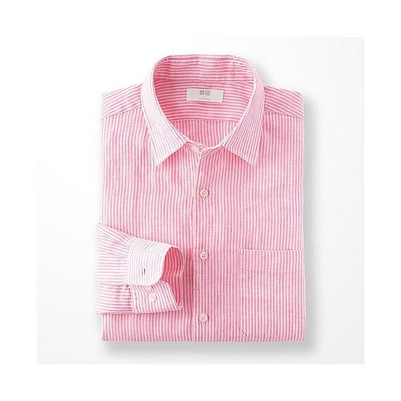 Uniqlo premium linen stripe long sleeve shirt in pink for for Uniqlo premium t shirt