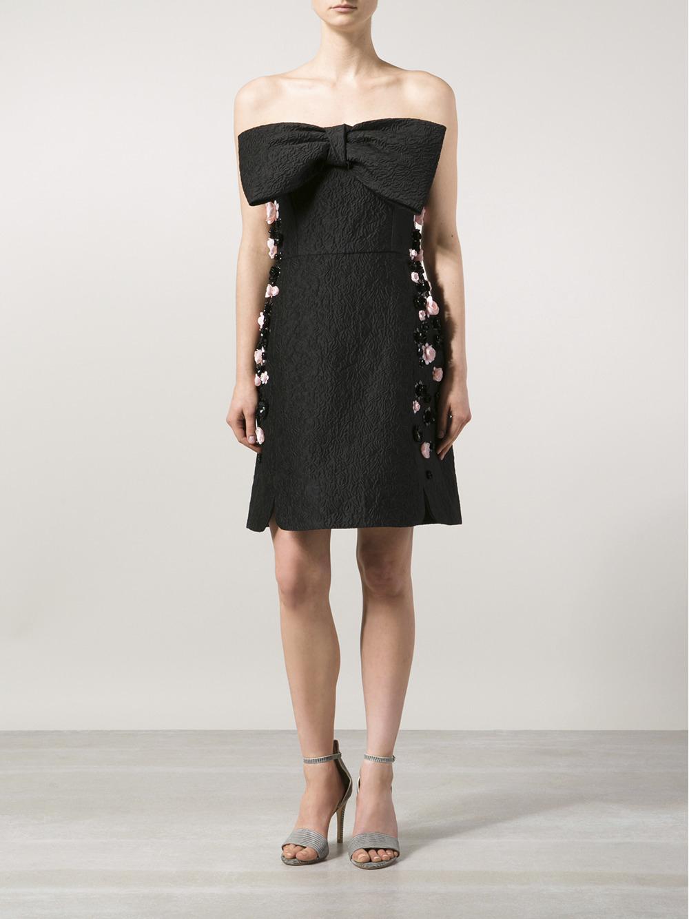 Lyst Giambattista Valli Strapless Bow Dress In Black