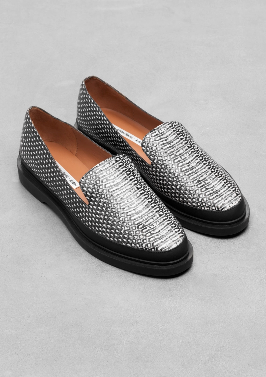e18e2ca3ff2   Other Stories Reptile Texture Leather Loafers in White - Lyst