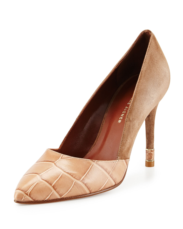 e10c8f5394fb Lyst - Etienne Aigner Zoe Croc-print High-heel Pump in Brown