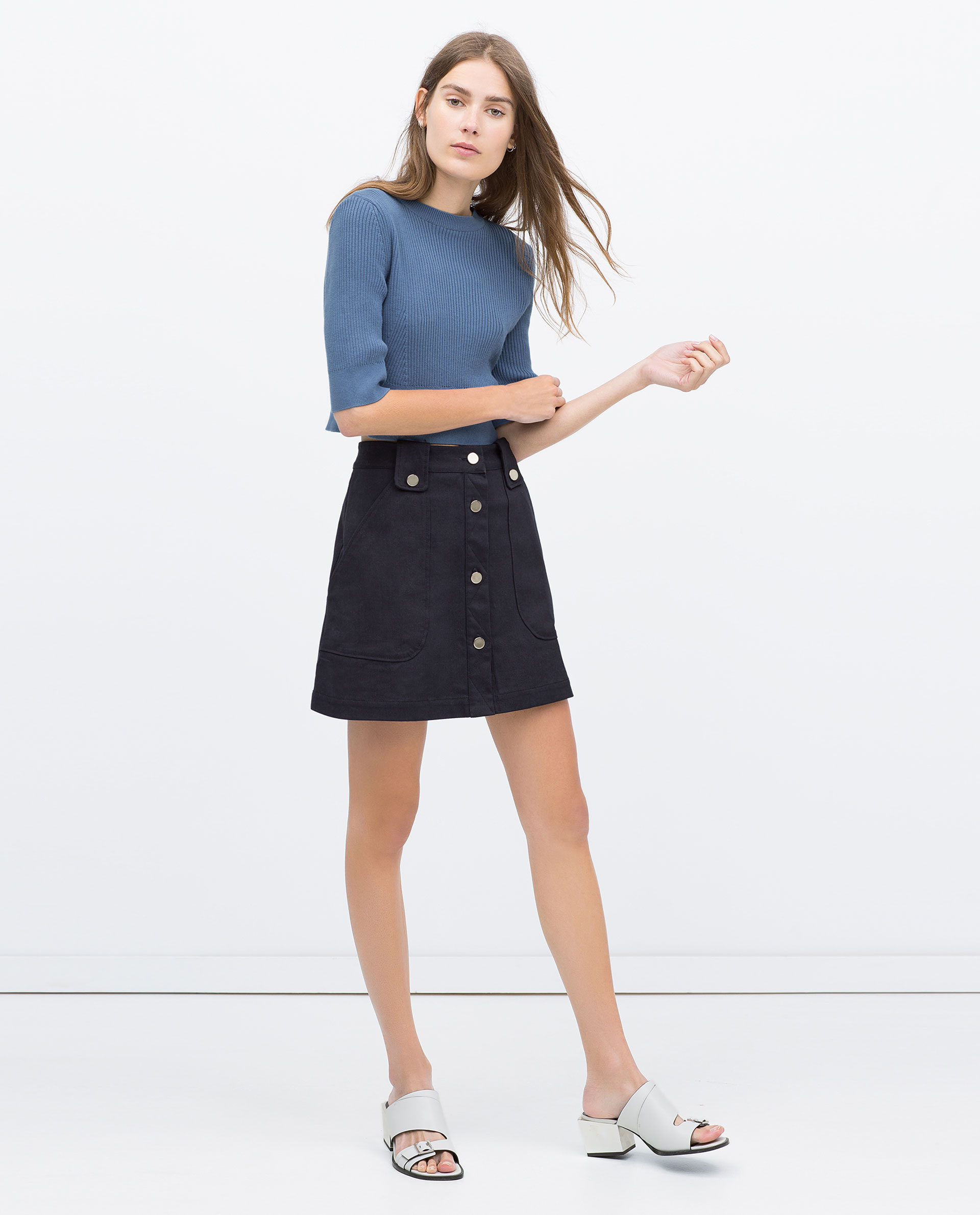 Zara Flared Skirt With Front Buttons in Blue