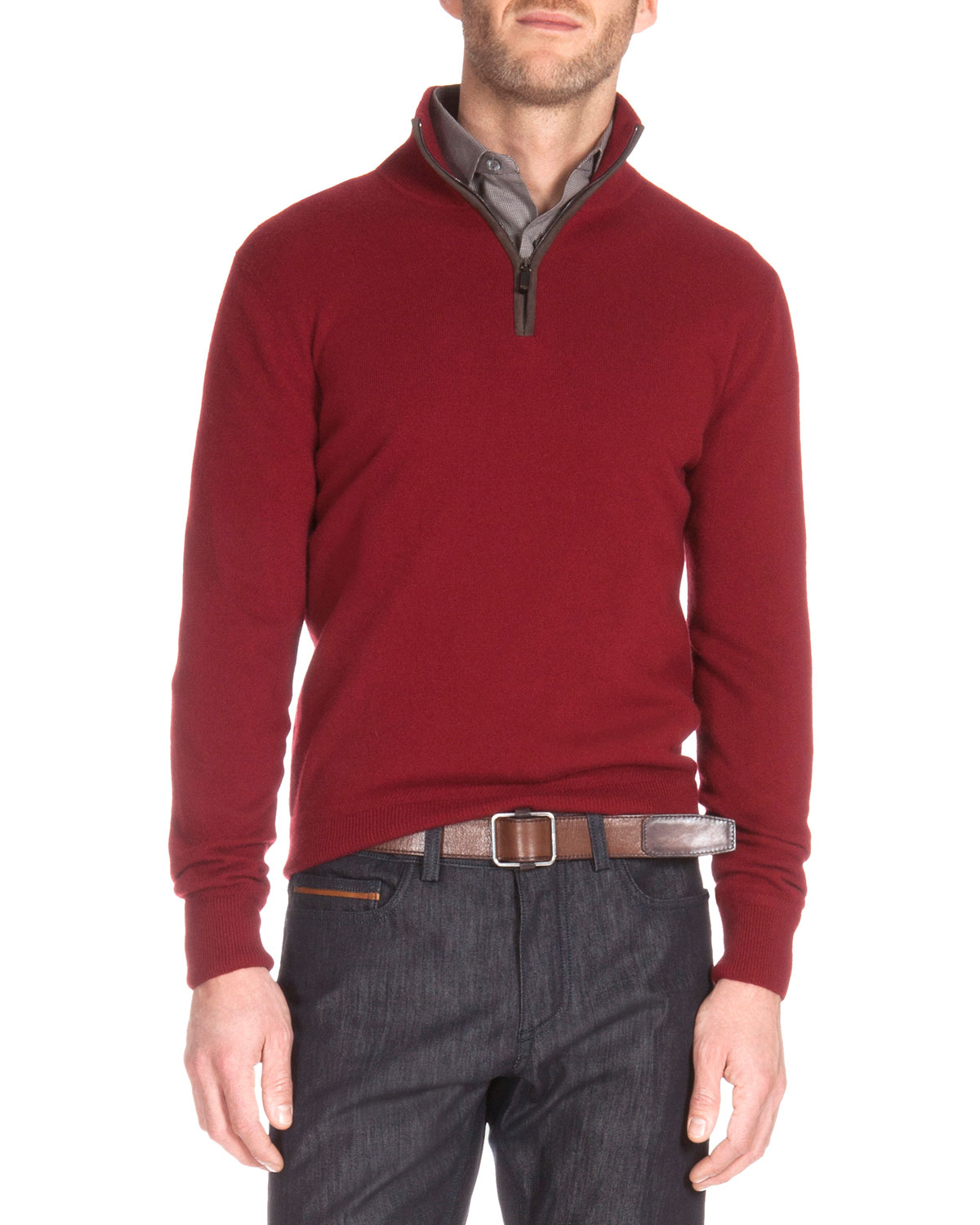 Berluti Suede Detail Quarter-zip Sweater in Red for Men | Lyst