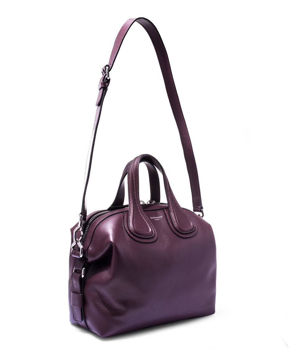 dccdbb1fbec Lyst - Givenchy Small Burgundy Nightingale Waxed Leather Bag in Purple