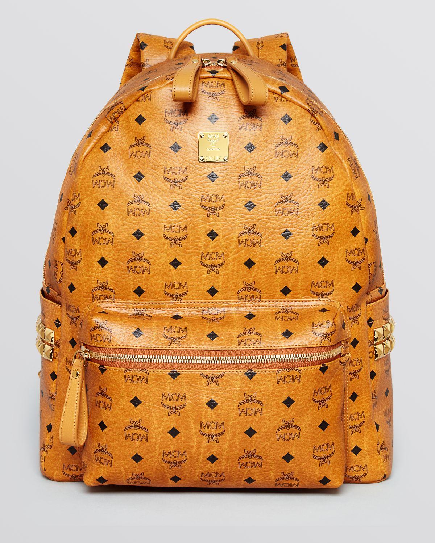 mcm side stud large backpack in brown for men cognac lyst. Black Bedroom Furniture Sets. Home Design Ideas