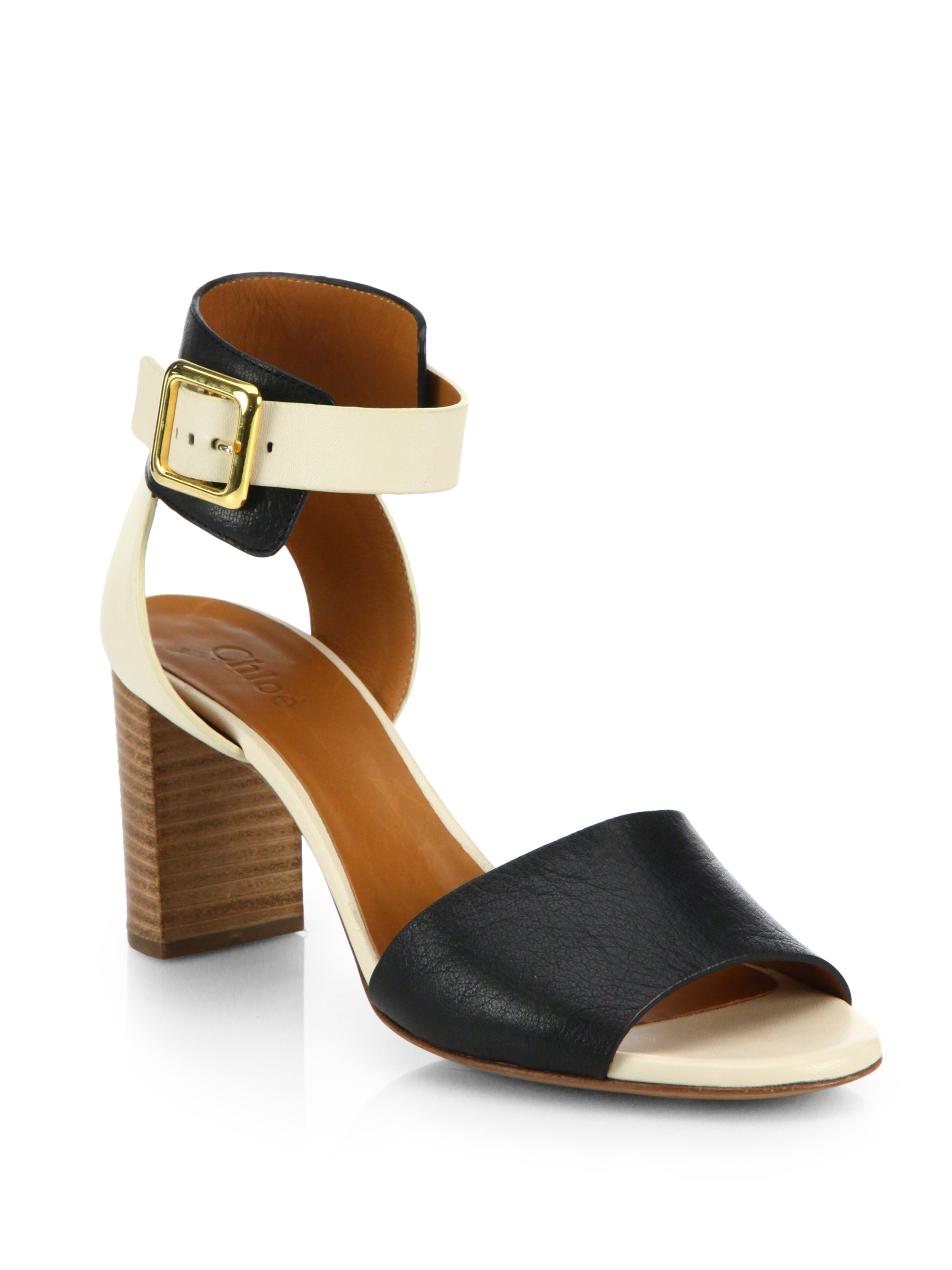 Chlo 233 Bicolor Leather Buckle Sandals In White Lyst