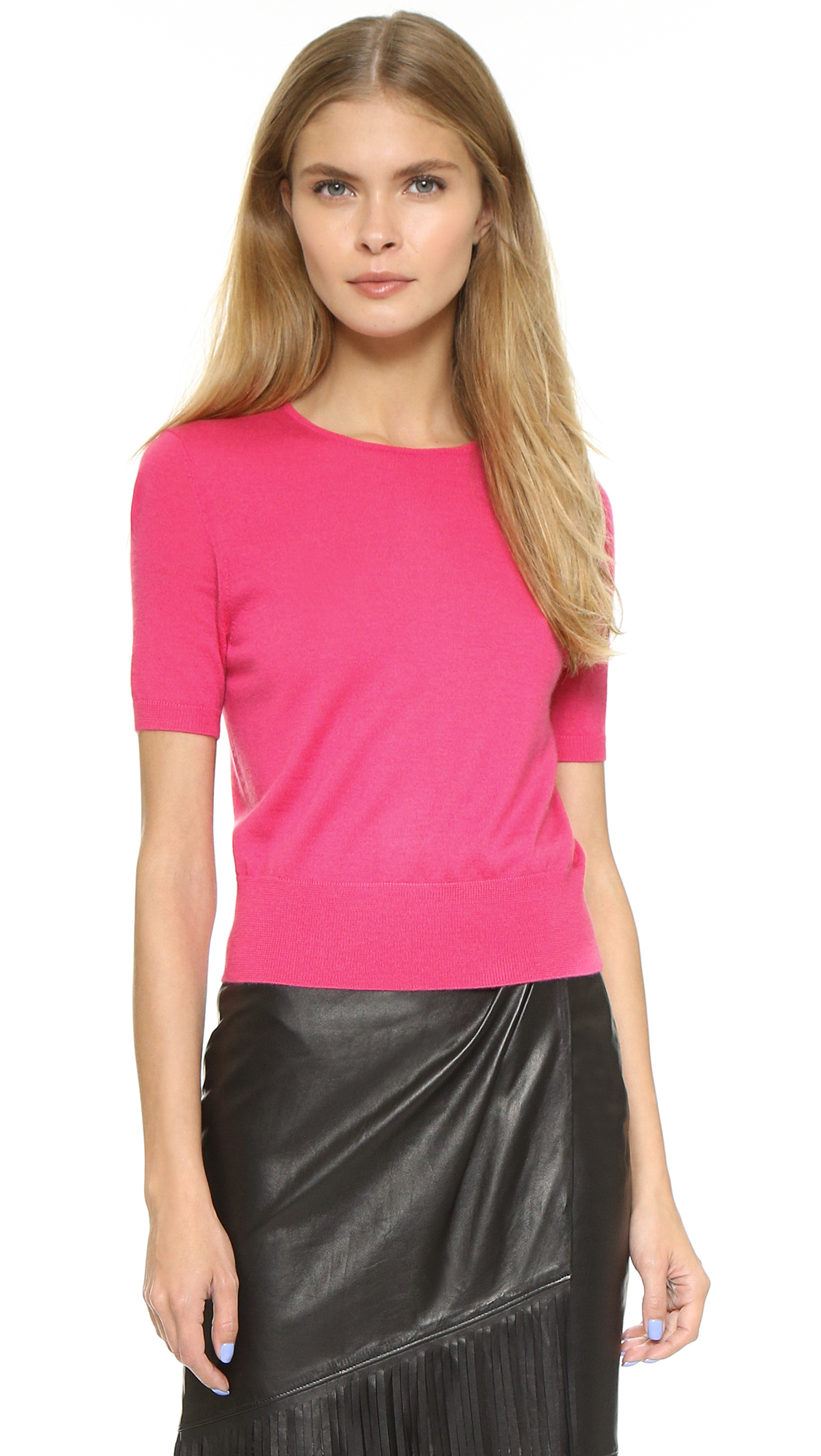 Tamara mellon Short Sleeve Cashmere Sweater in Pink | Lyst