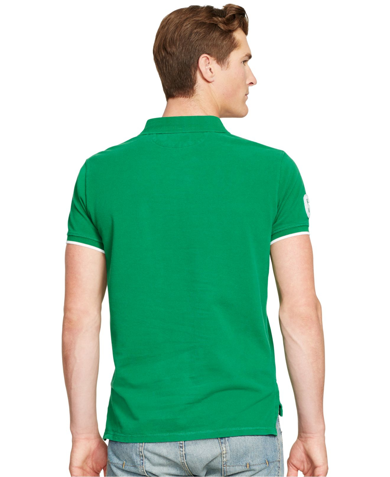 Ralph Lauren Men Custom-Fit Green Mesh Polo .