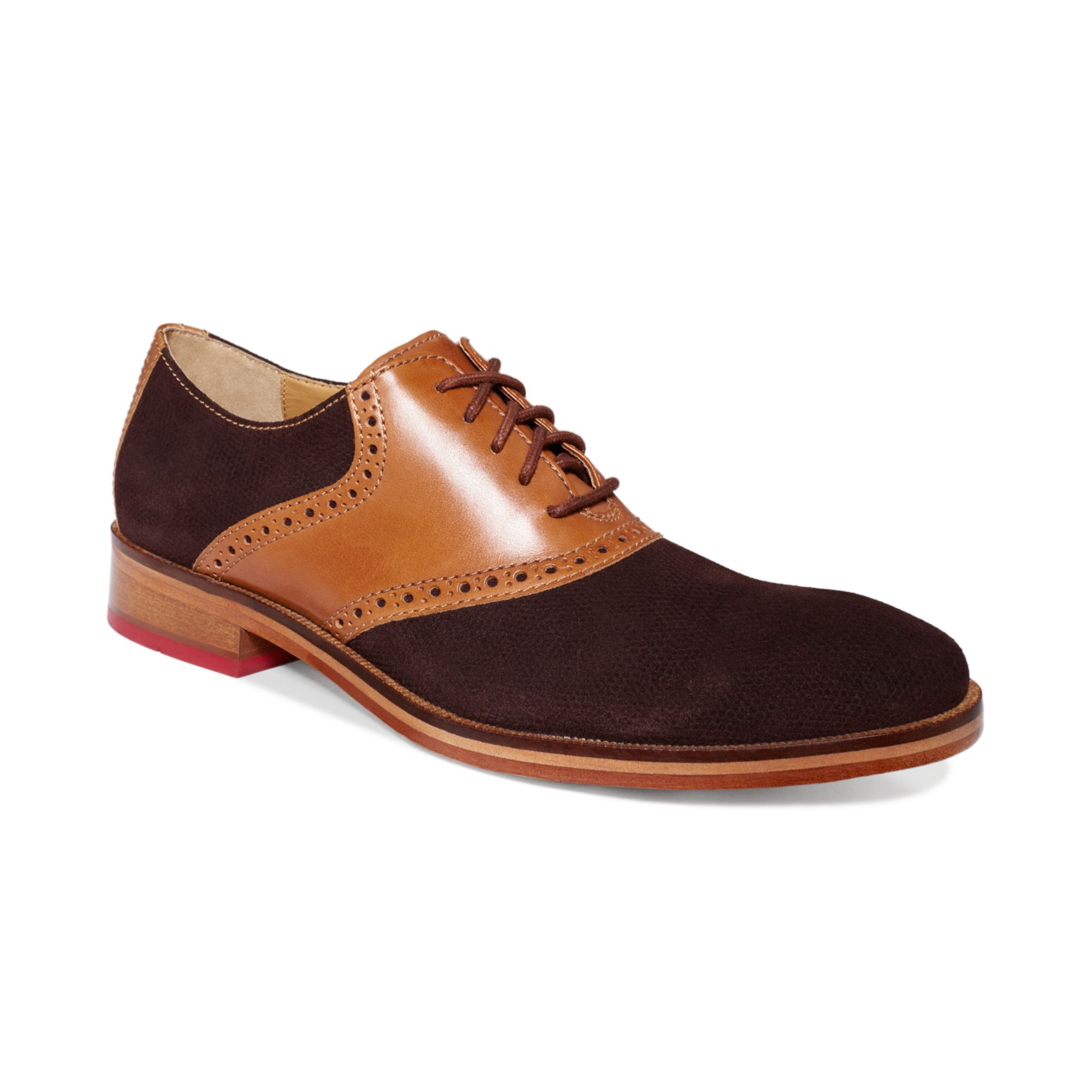 Cole Haan Colton Saddle Welt Shoes In Brown For Men