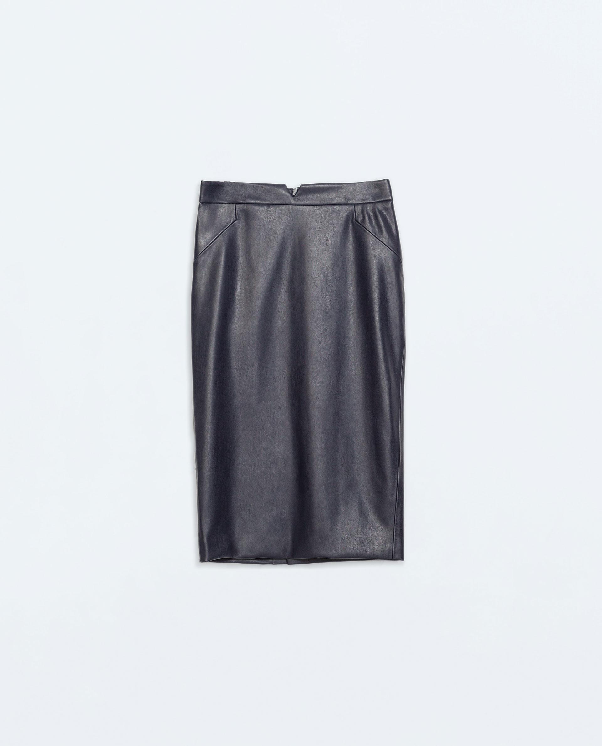 Zara Faux Leather Skirt in Blue | Lyst