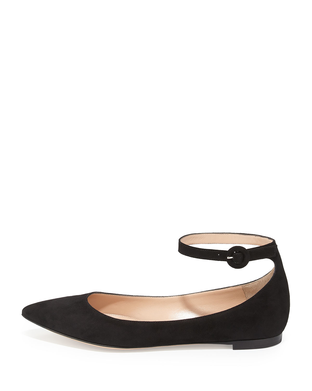 0820be5d4494 Lyst - Gianvito Rossi Suede Ankle-wrap Skimmer Flat in Black
