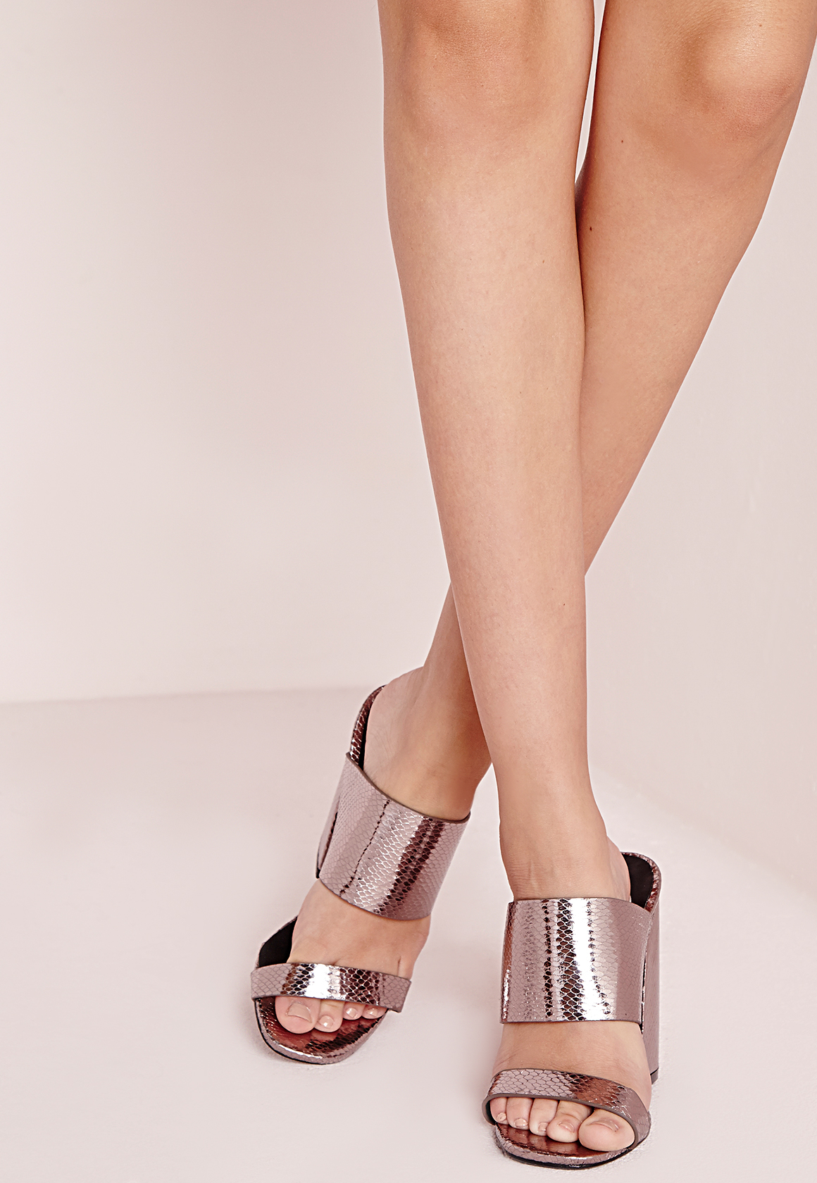 1b316dd4196 Lyst - Missguided Double Strap Block Heel Mules Pewter in Pink