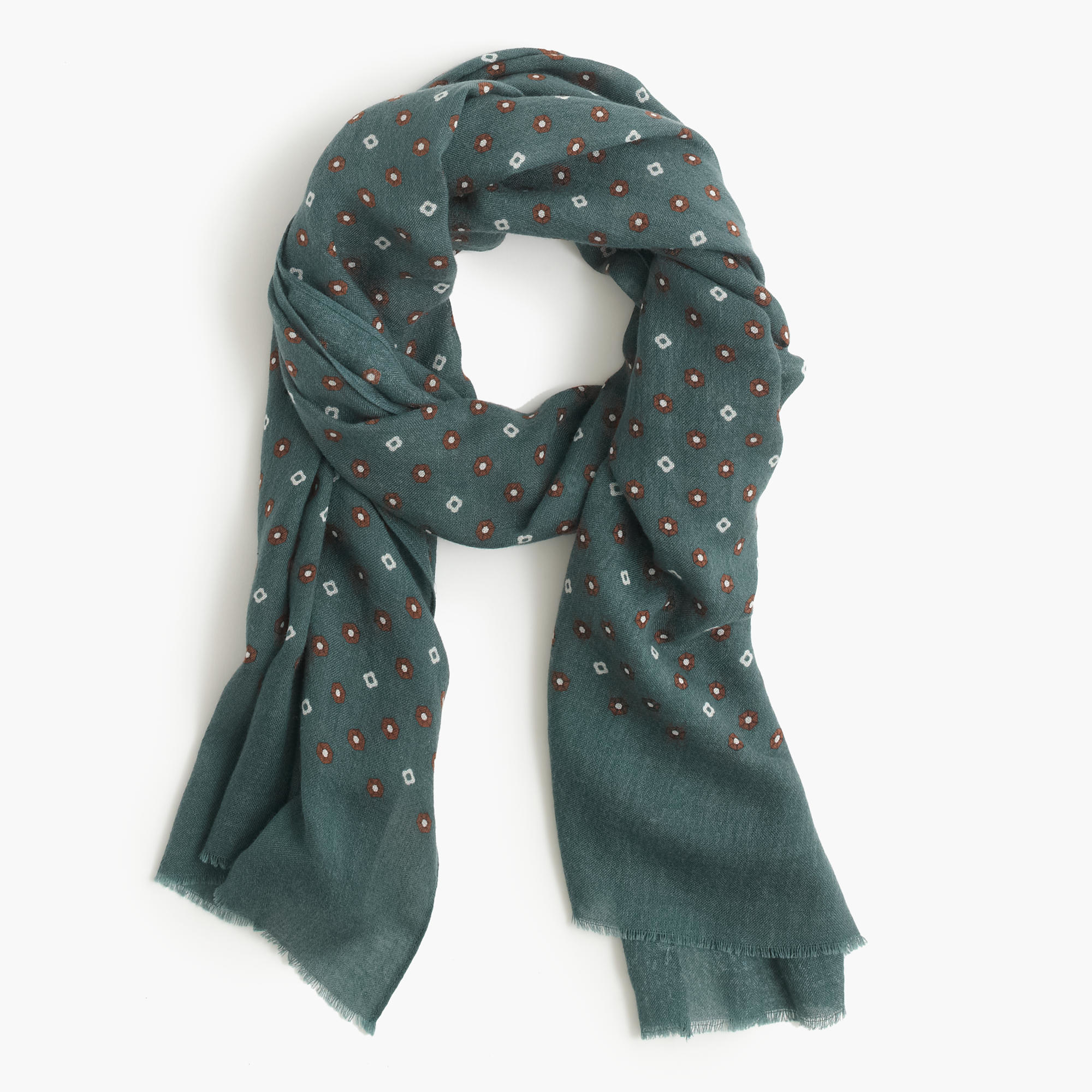 j crew wool silk and clover scarf in green for lyst