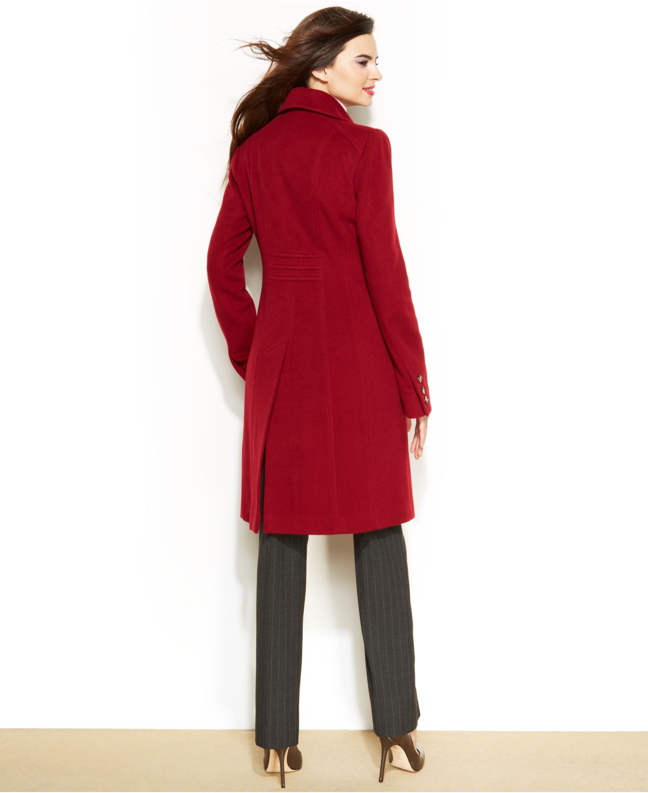 Anne klein Petite Wool-Cashmere-Blend Walker Coat in Red | Lyst