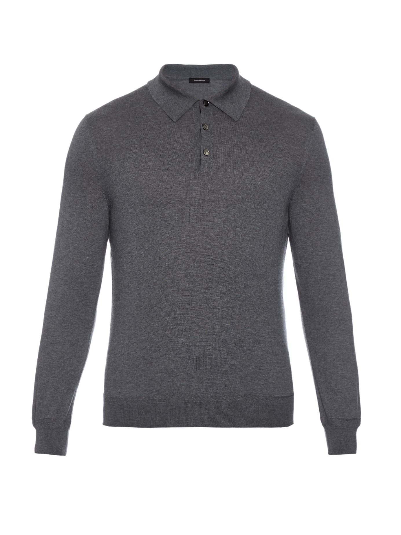 Ermenegildo zegna long sleeved wool and cashmere blend for Long sleeve wool polo shirts