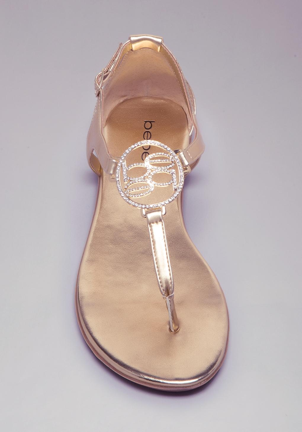 261749a6bec196 Lyst - Bebe Brielle Logo Flat Sandals in Metallic