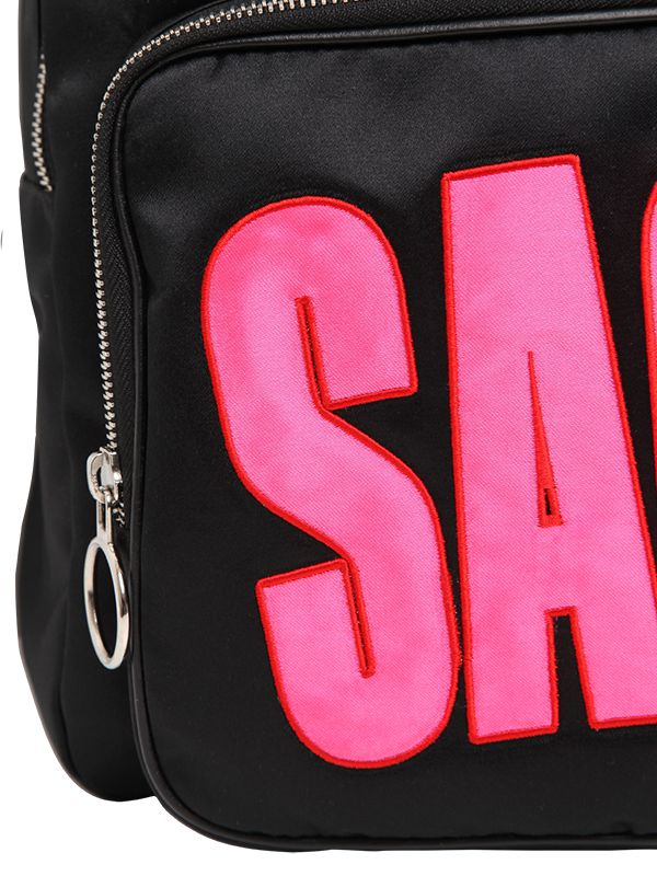 House of Holland Sack Embroidered Viscous Satin Backpack in Black/Fuchsia (Black)