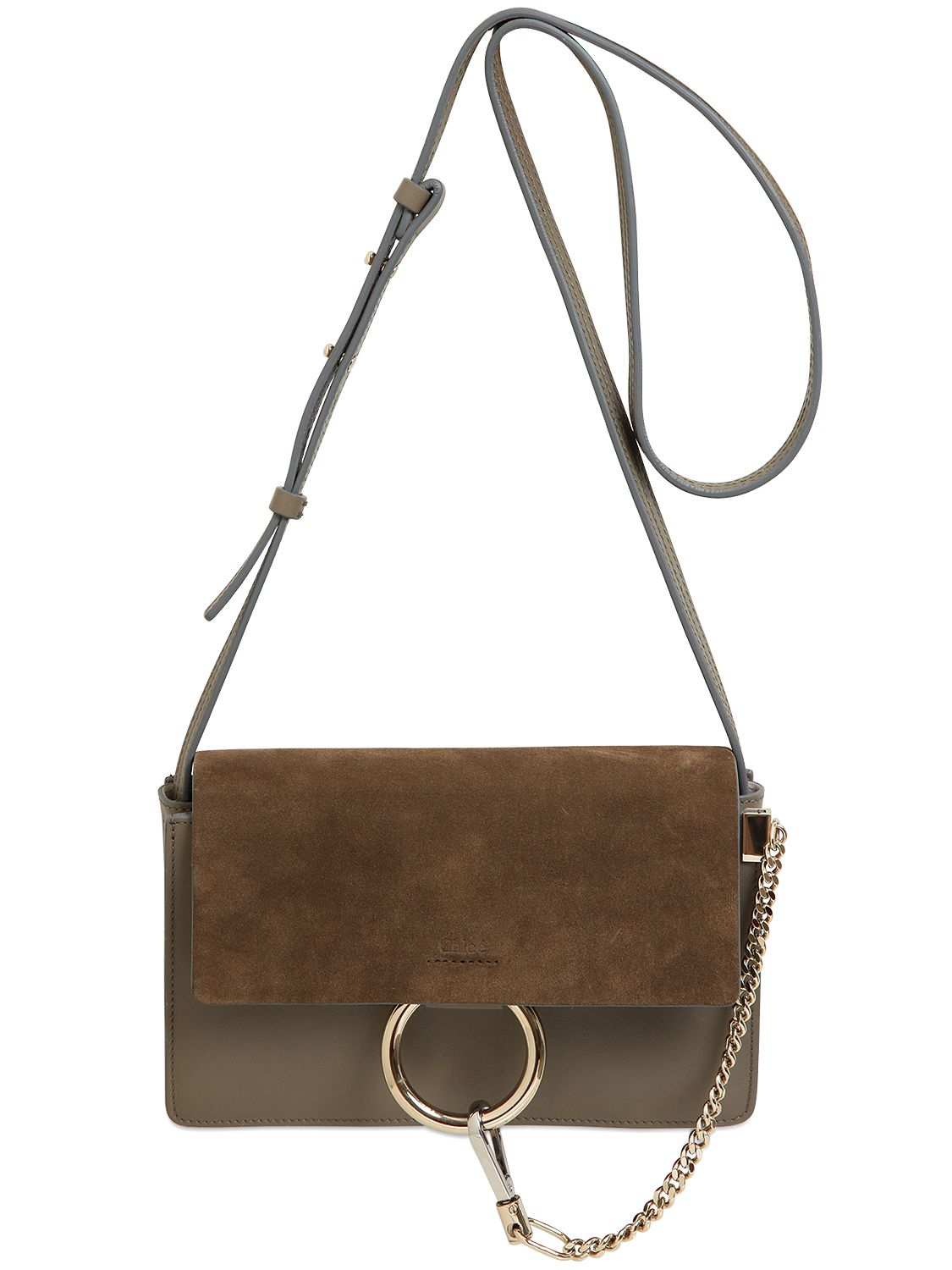 Chlo 233 Small Faye Leather Amp Suede Shoulder Bag In Gray Lyst