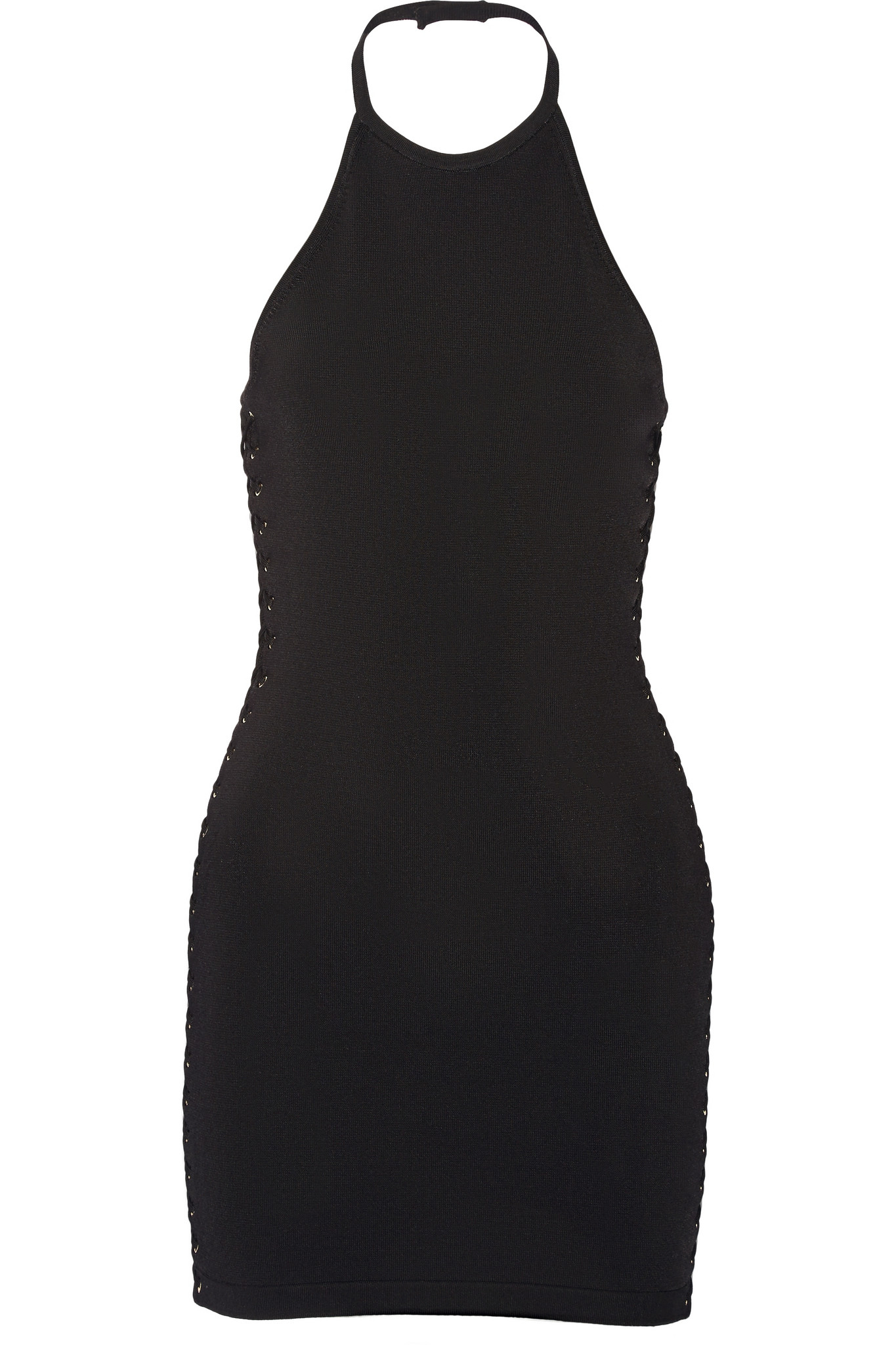 ea363485251a Lyst - Balmain Lace-up Stretch-knit Mini Dress in Black