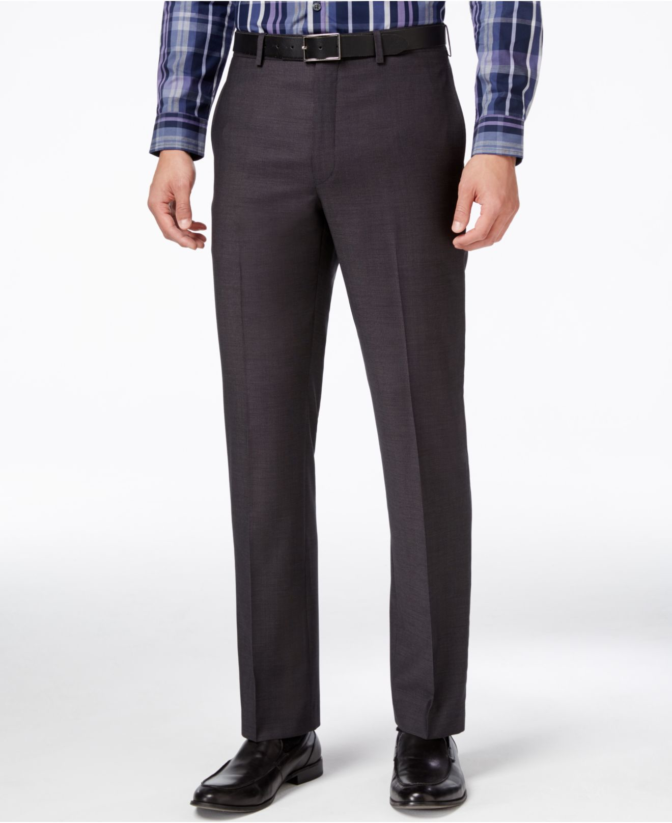 These pants are one of the best slim fit dress pants for men. Target's Merona Pinstripe Pant: These elegant pinstripe pants come in black and they feature a straight leg, zip and button front closure, a finished hem, button back pockets, two front pockets, and belt loops.