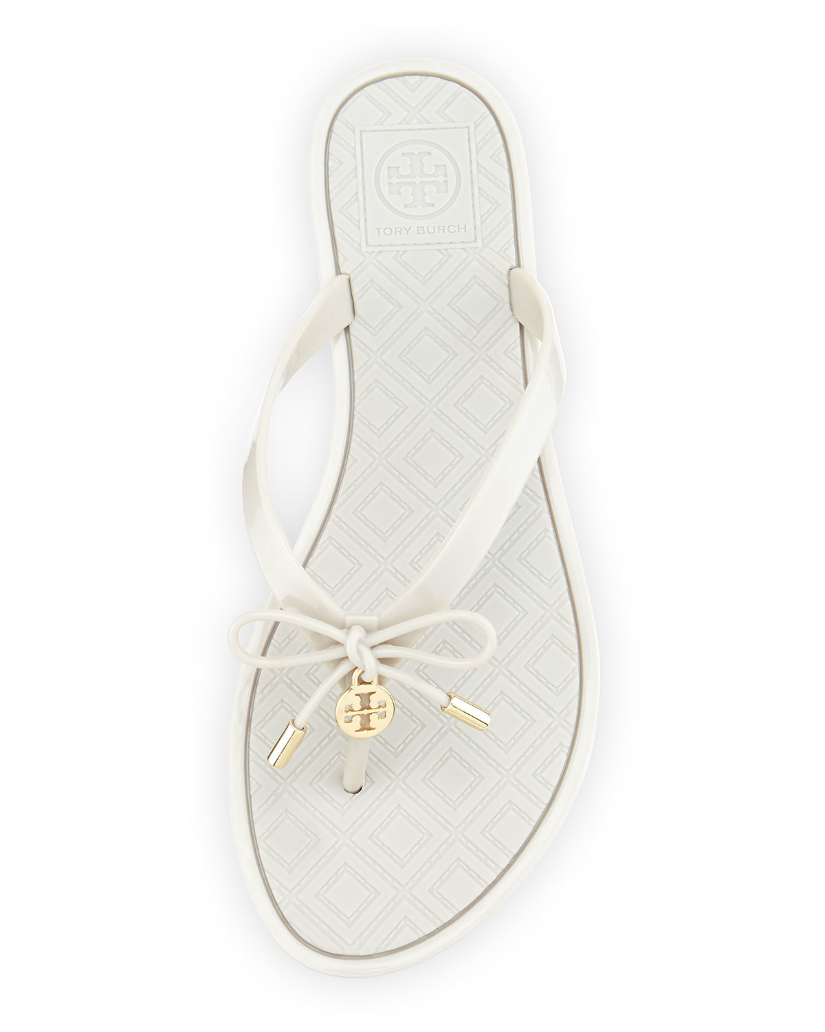 8d2348ca4e0818 Lyst - Tory Burch Jelly Bow Logo-Charm Thong Sandals in White