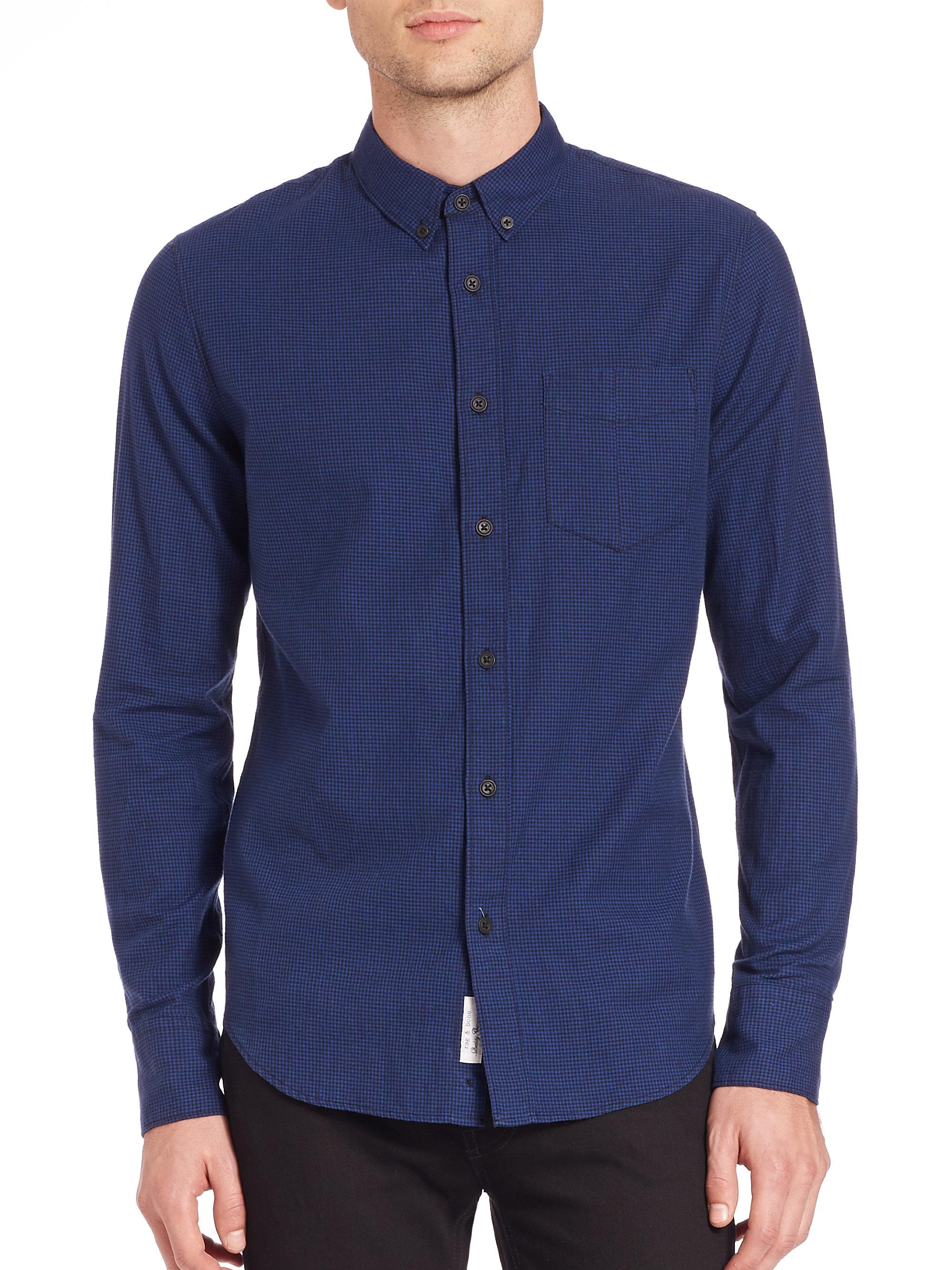 Rag bone yokohama shirt in blue for men lyst for Rag bone shirt