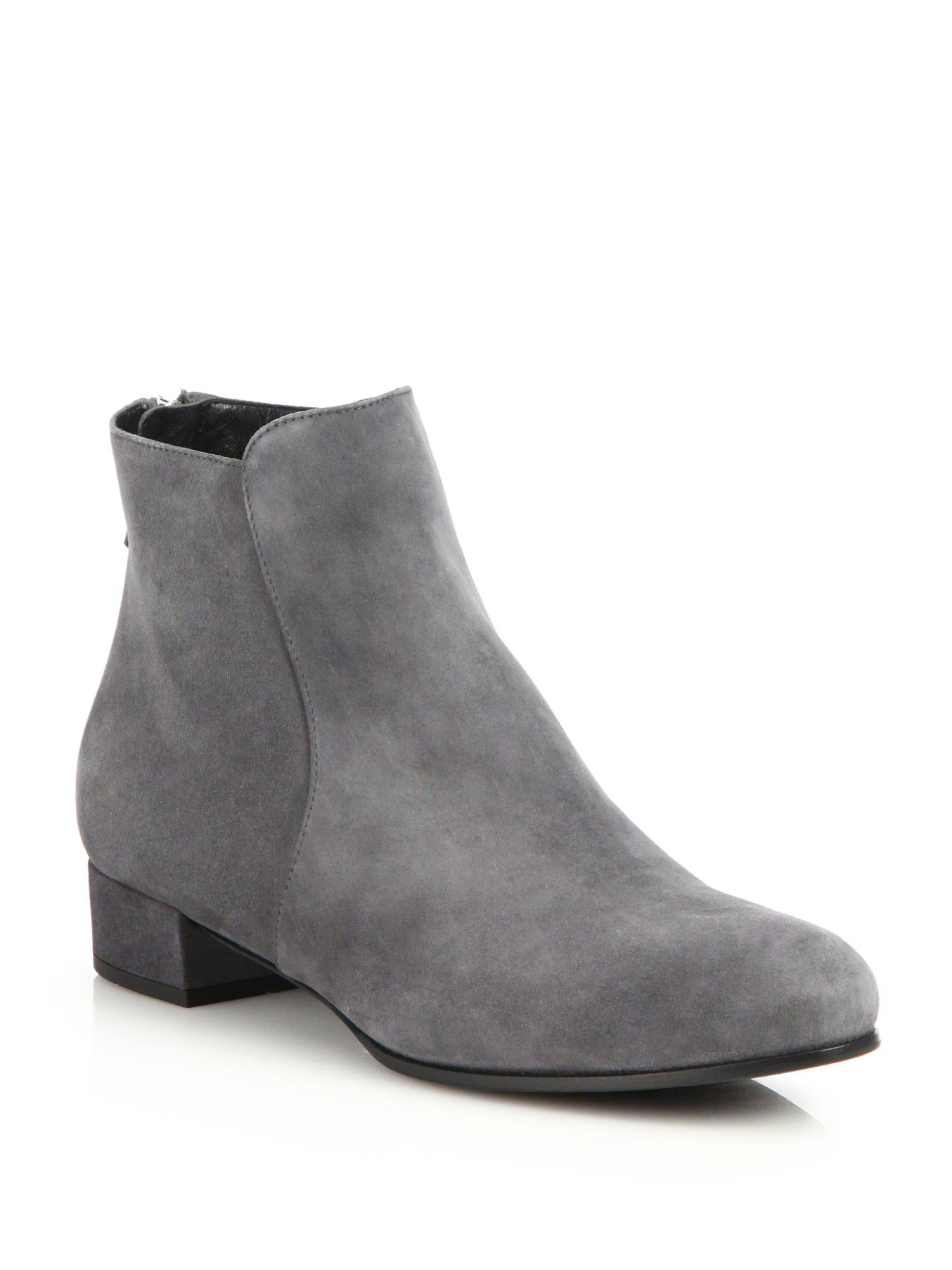 Prada Suede Flat Ankle Boots in Gray | Lyst