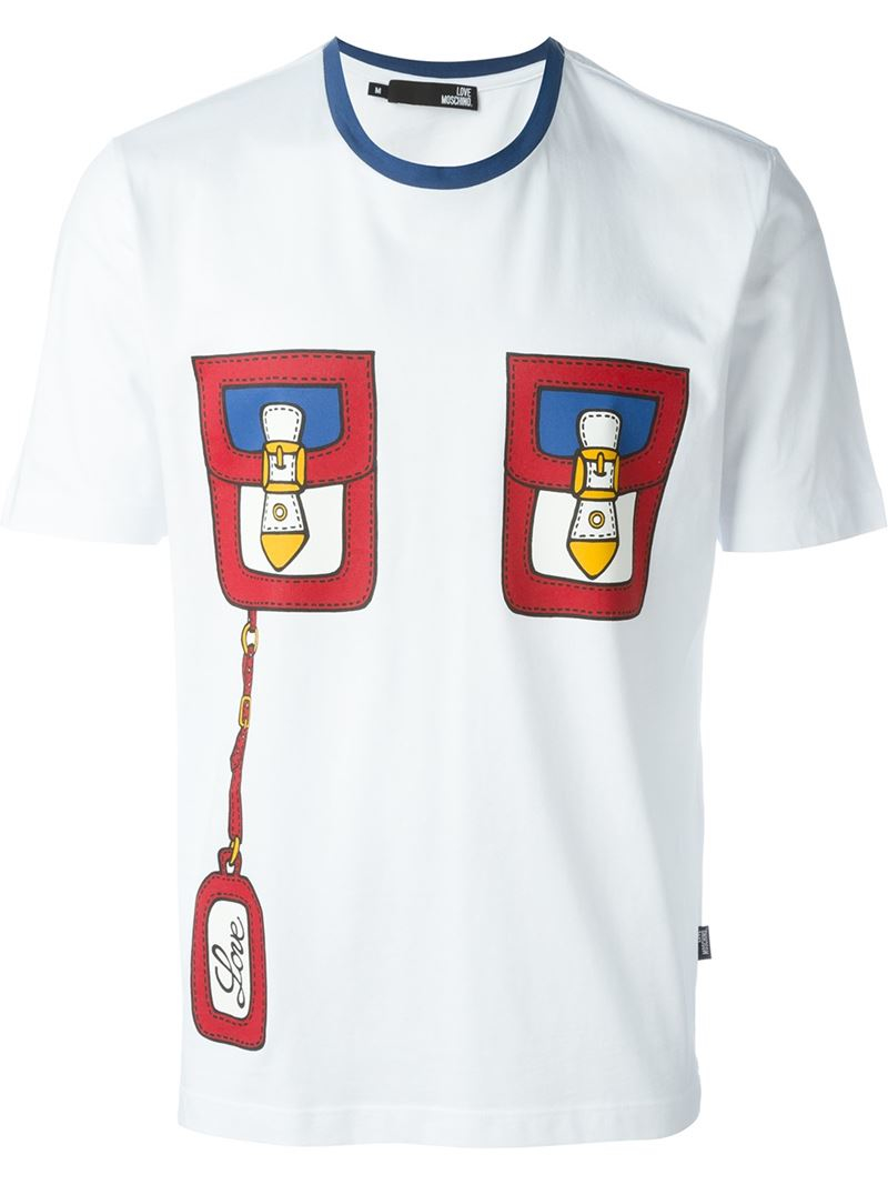 love moschino pocket print t shirt in white for men lyst. Black Bedroom Furniture Sets. Home Design Ideas
