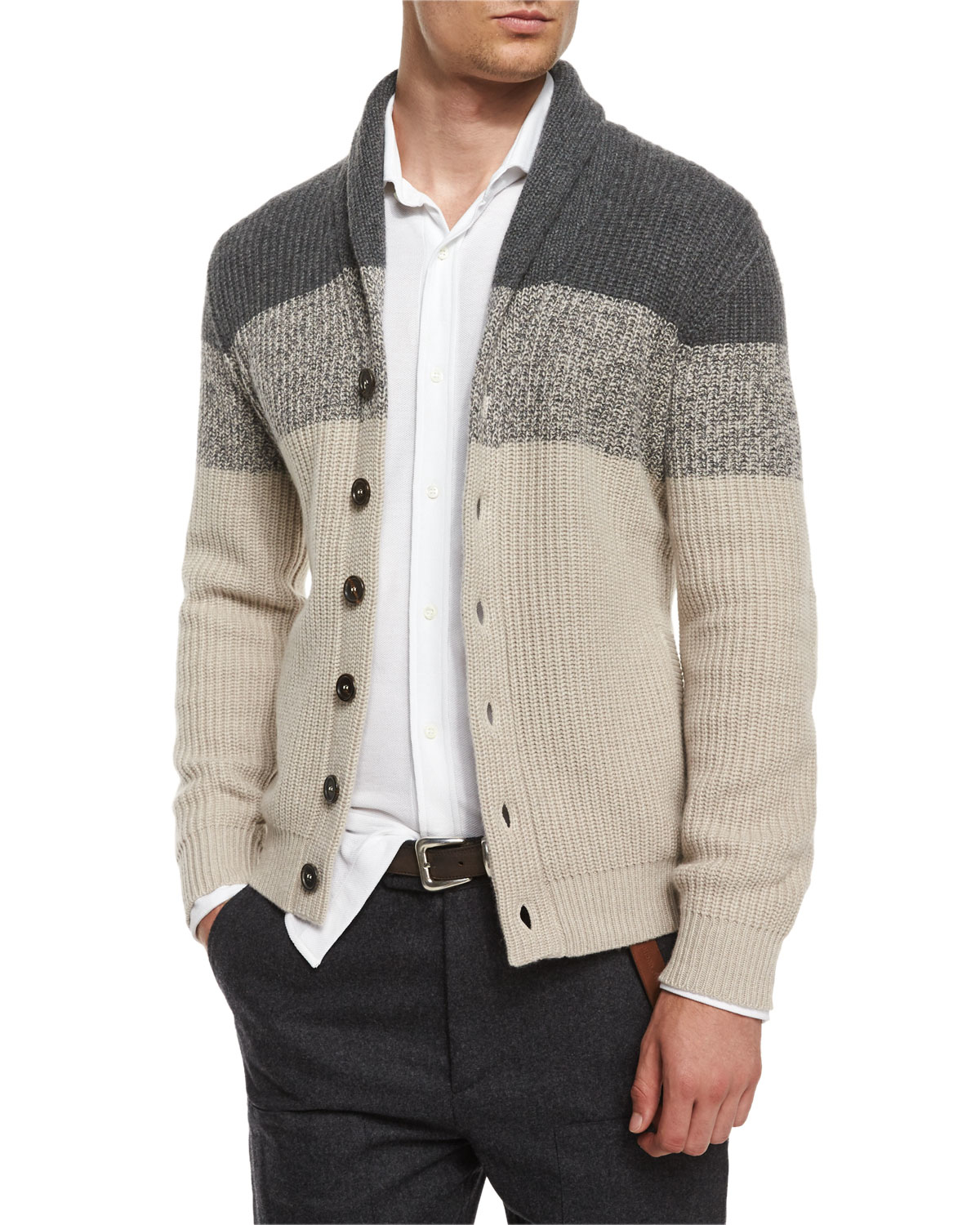 Brunello cucinelli Shawl-collar Colorblock Cashmere Cardigan in ...