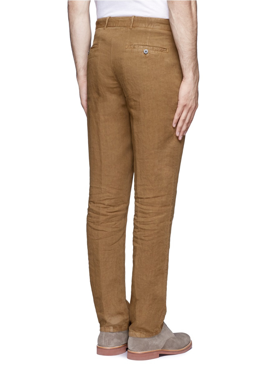 Armani Linen Pants in Brown for Men | Lyst