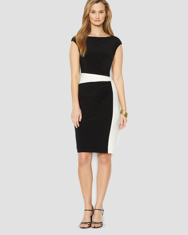 Ralph Lauren Lauren Dress Cap Sleeve Color Block In
