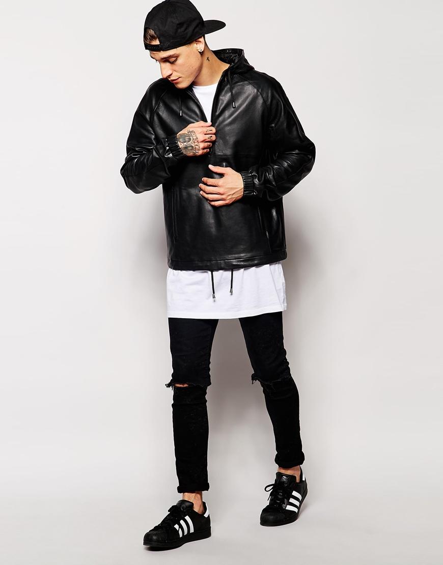 Lyst Asos Leather Hooded Pullover Jacket In Black For Men