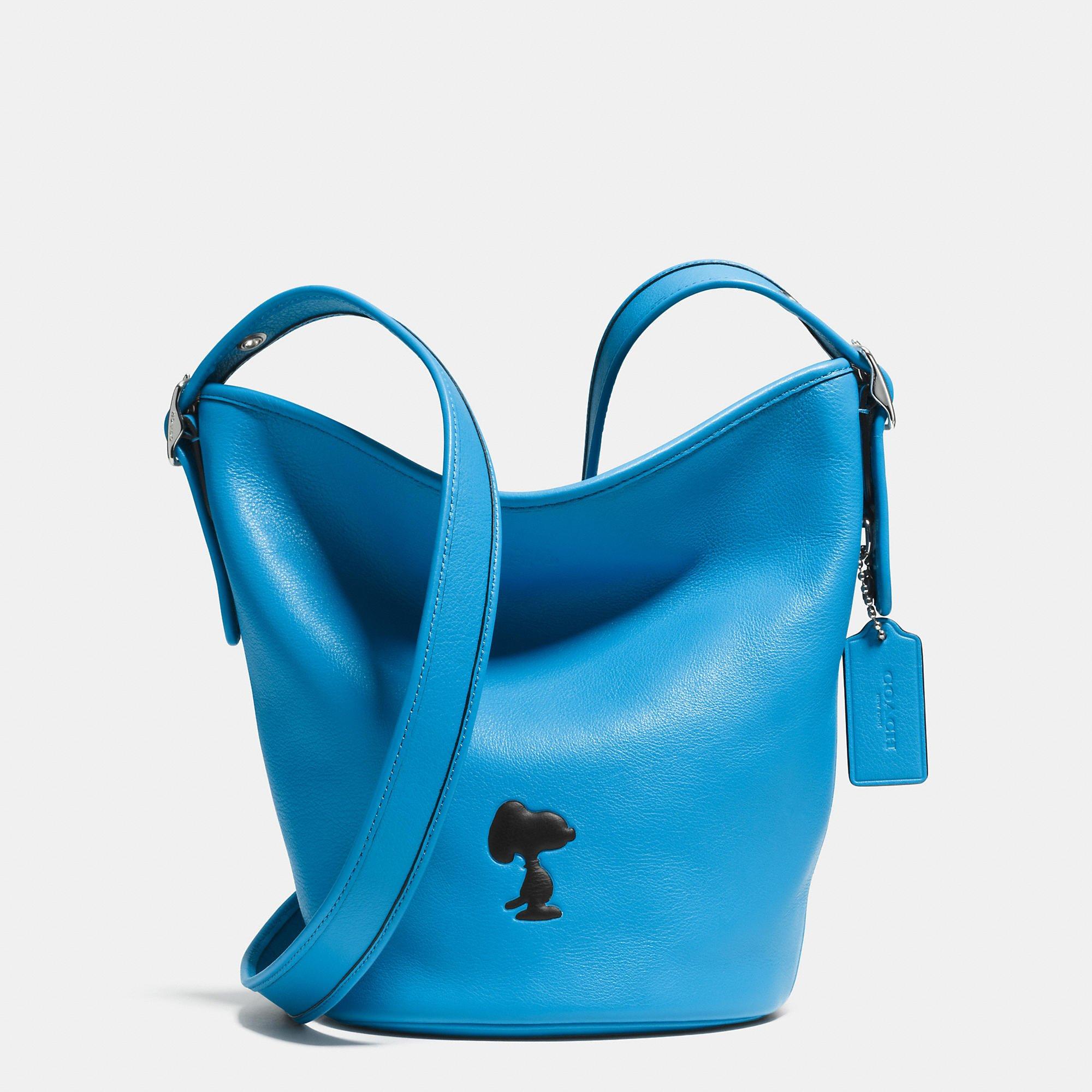 Coach X Peanuts Bleecker Mini Duffle In Leather in Blue