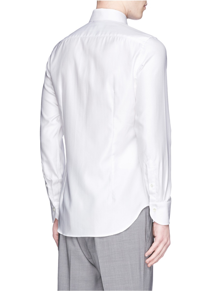 Canali spread collar cotton herringbone shirt in white for for Men s spread collar shirts