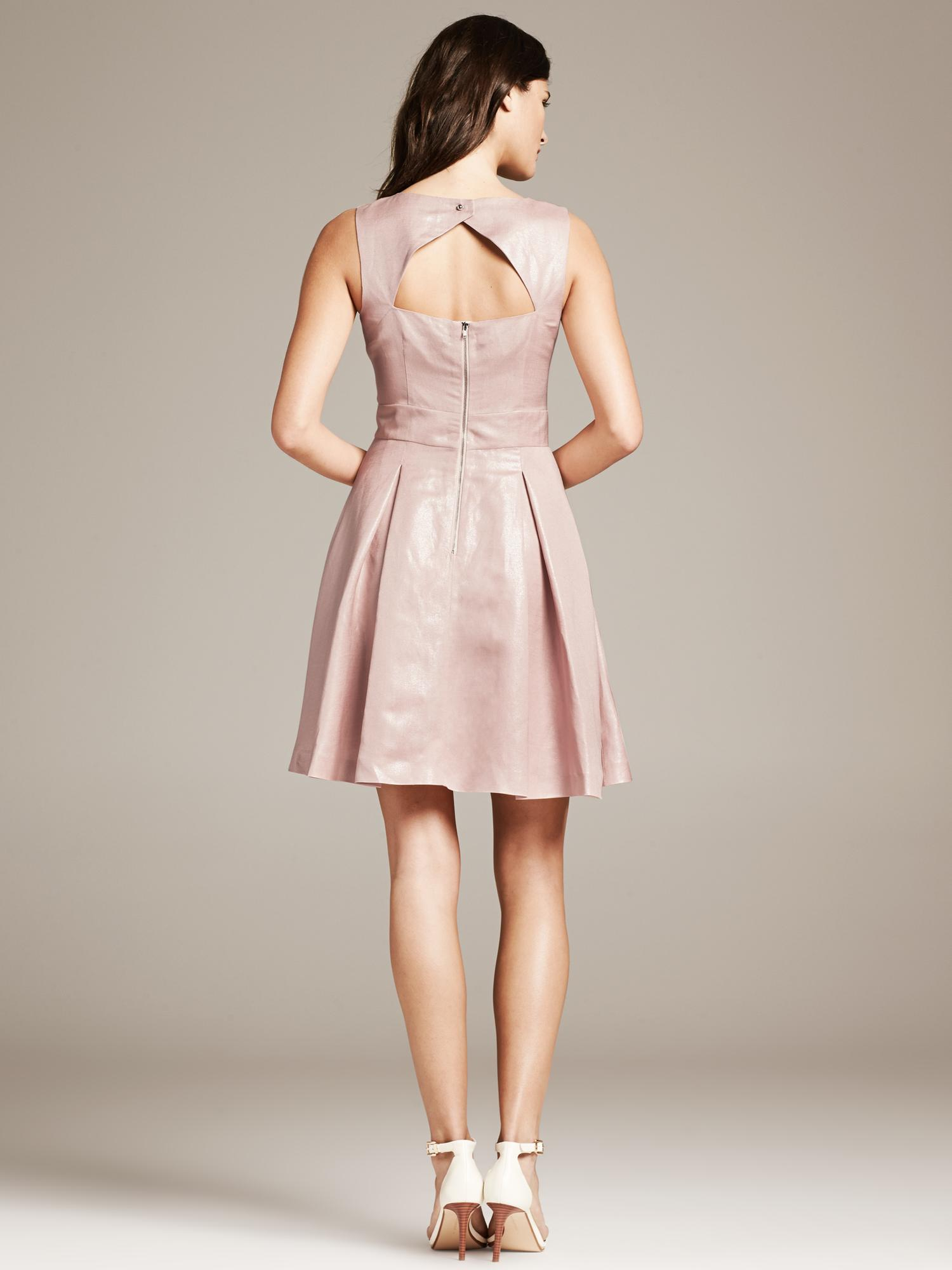 Banana Republic Monogram Metallic Pink Fit And Flare Dress