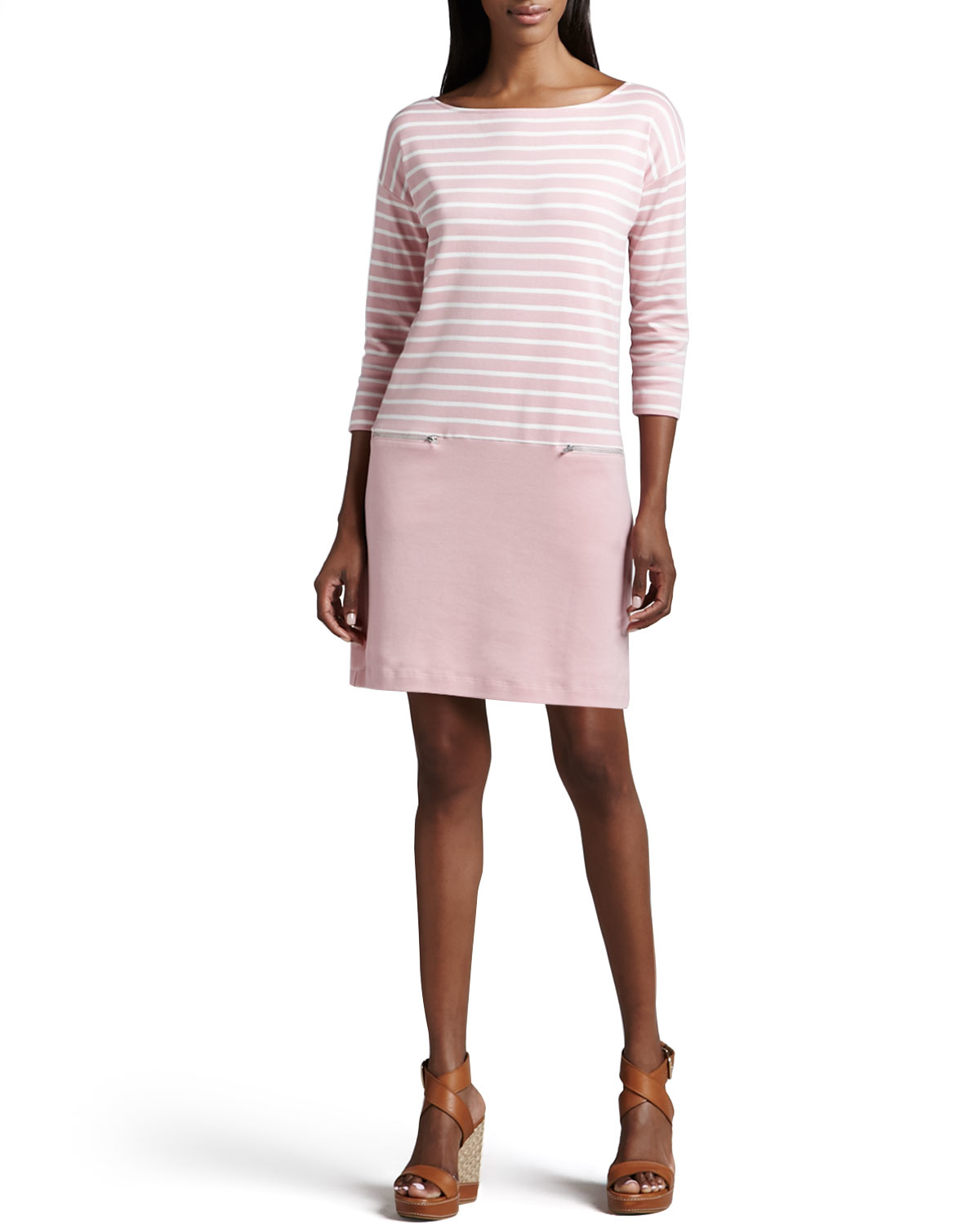 Joan Vass Striped Interlock Dress In Natural