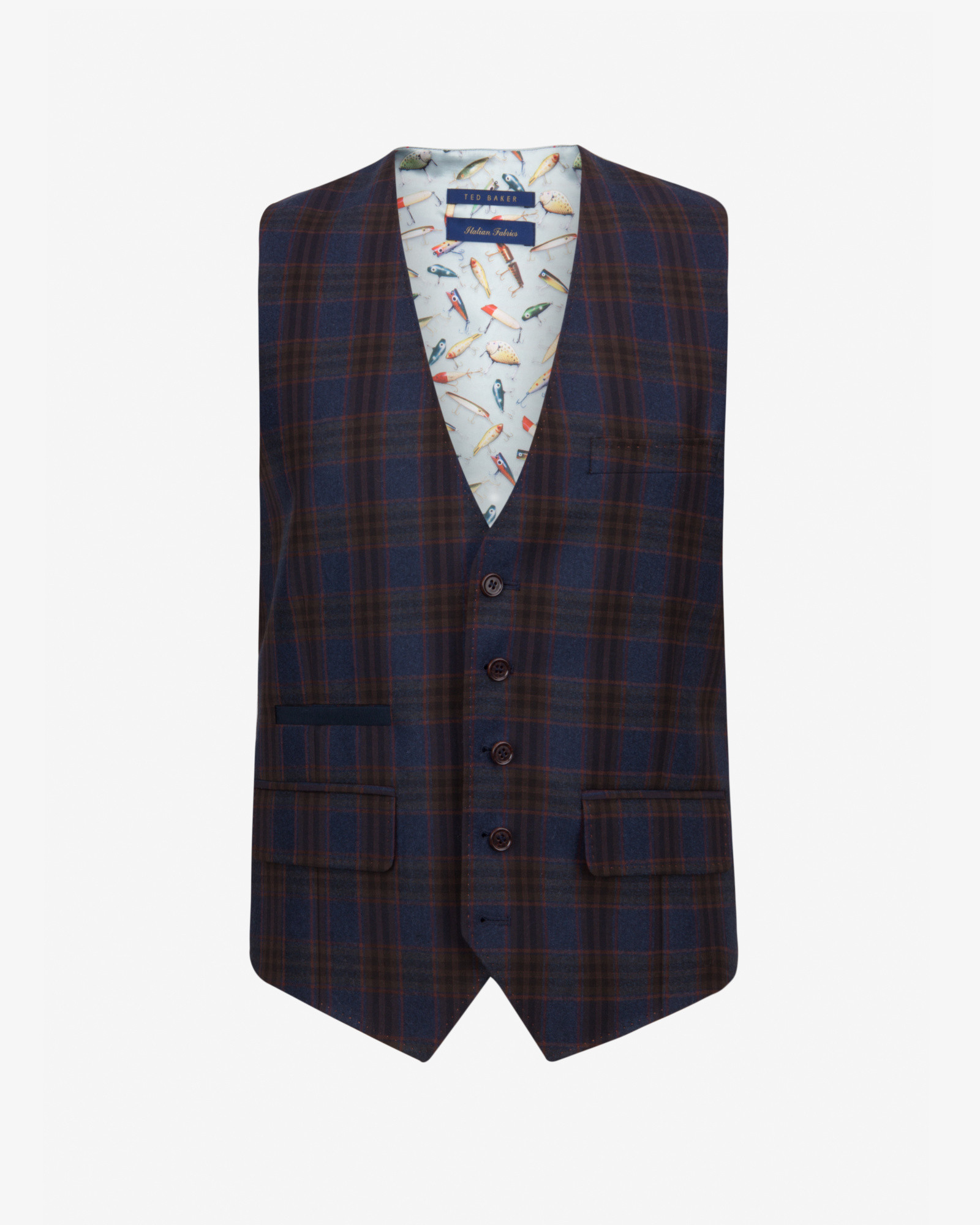 0a981e880 Lyst - Ted Baker Tight Lines Checked Wool Waistcoat in Blue for Men
