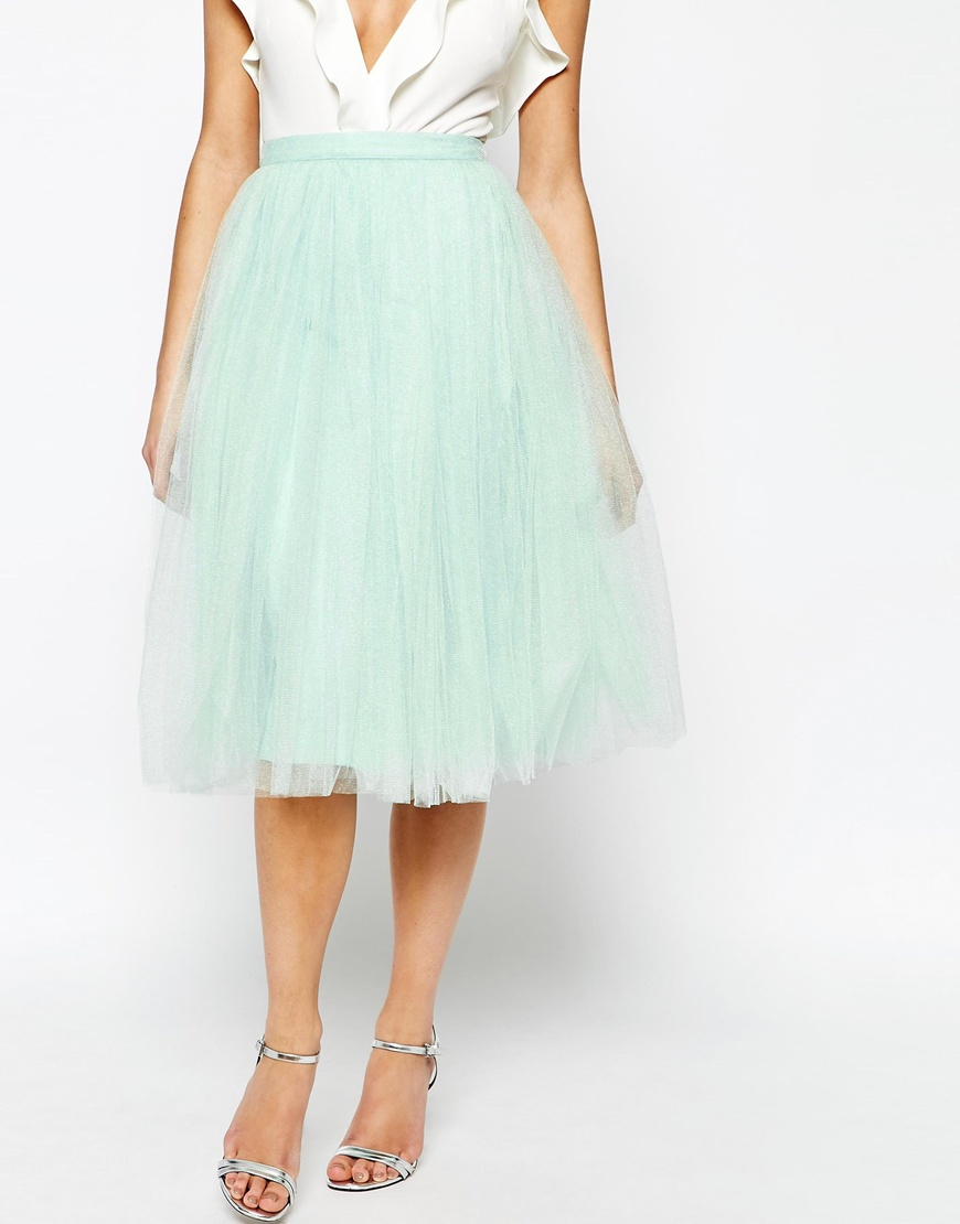 midi tulle skirt in green lyst