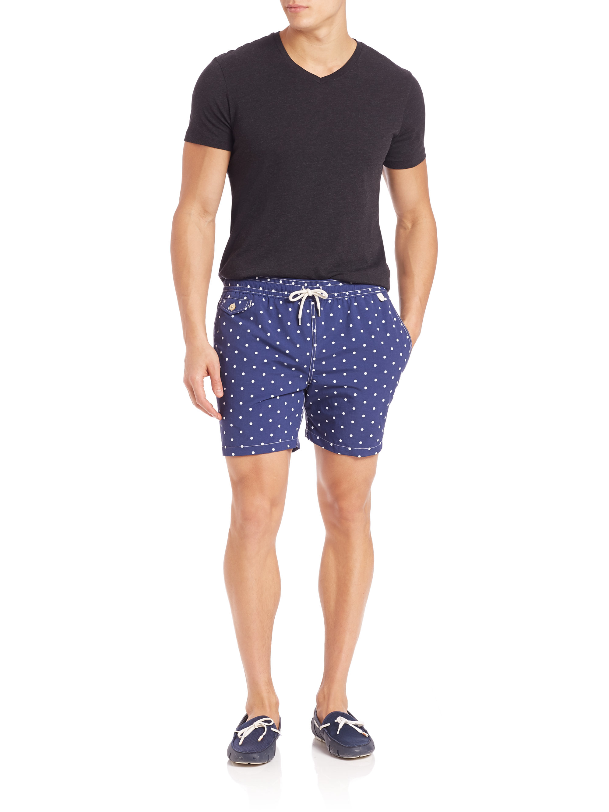 c77eac8f43 ... italy lyst polo ralph lauren polka dot traveler swim shorts in blue for  men 60865 3ccb5