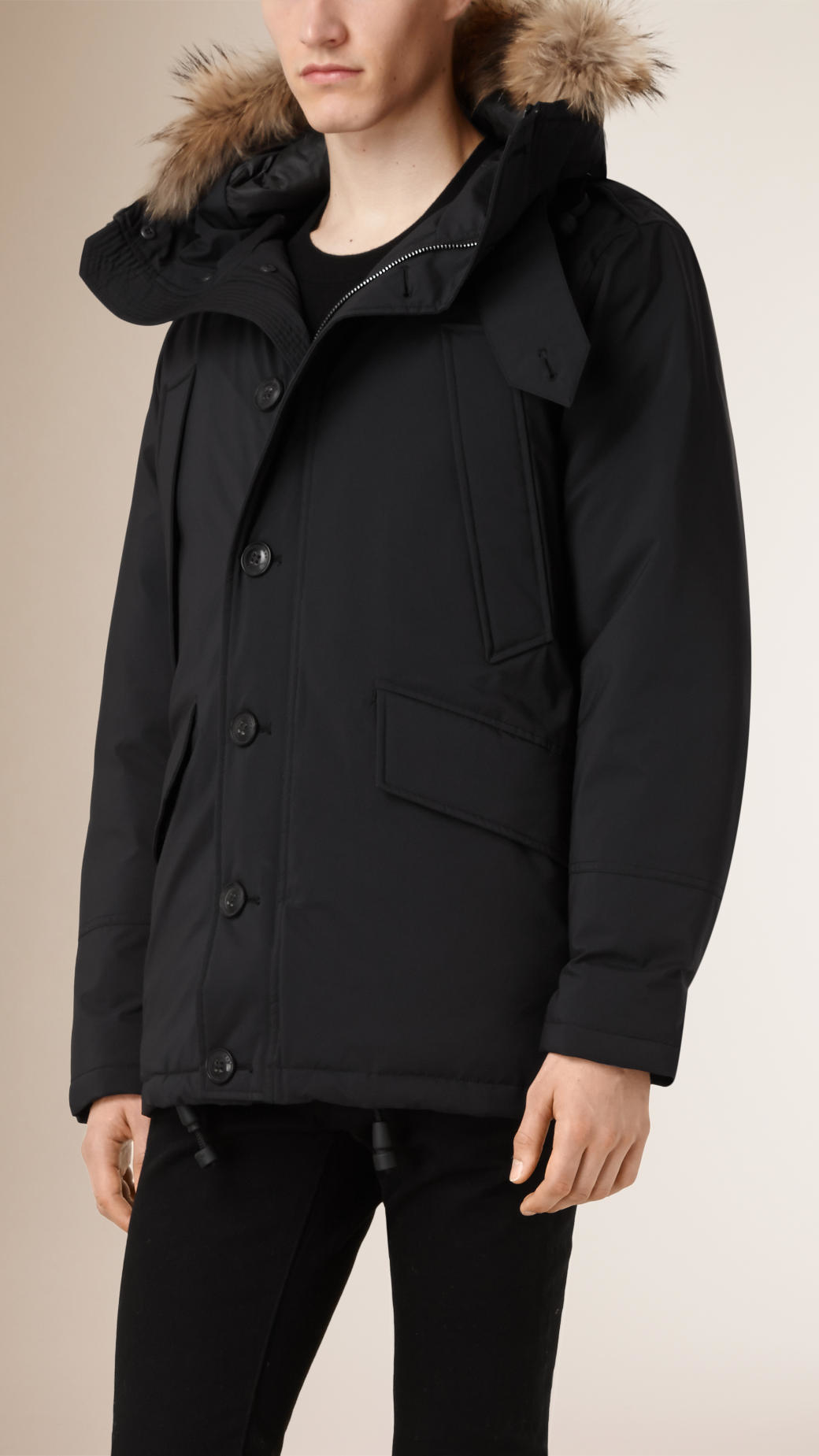 Burberry Down Filled Parka With Detachable Fur Trim Hood in Black ...