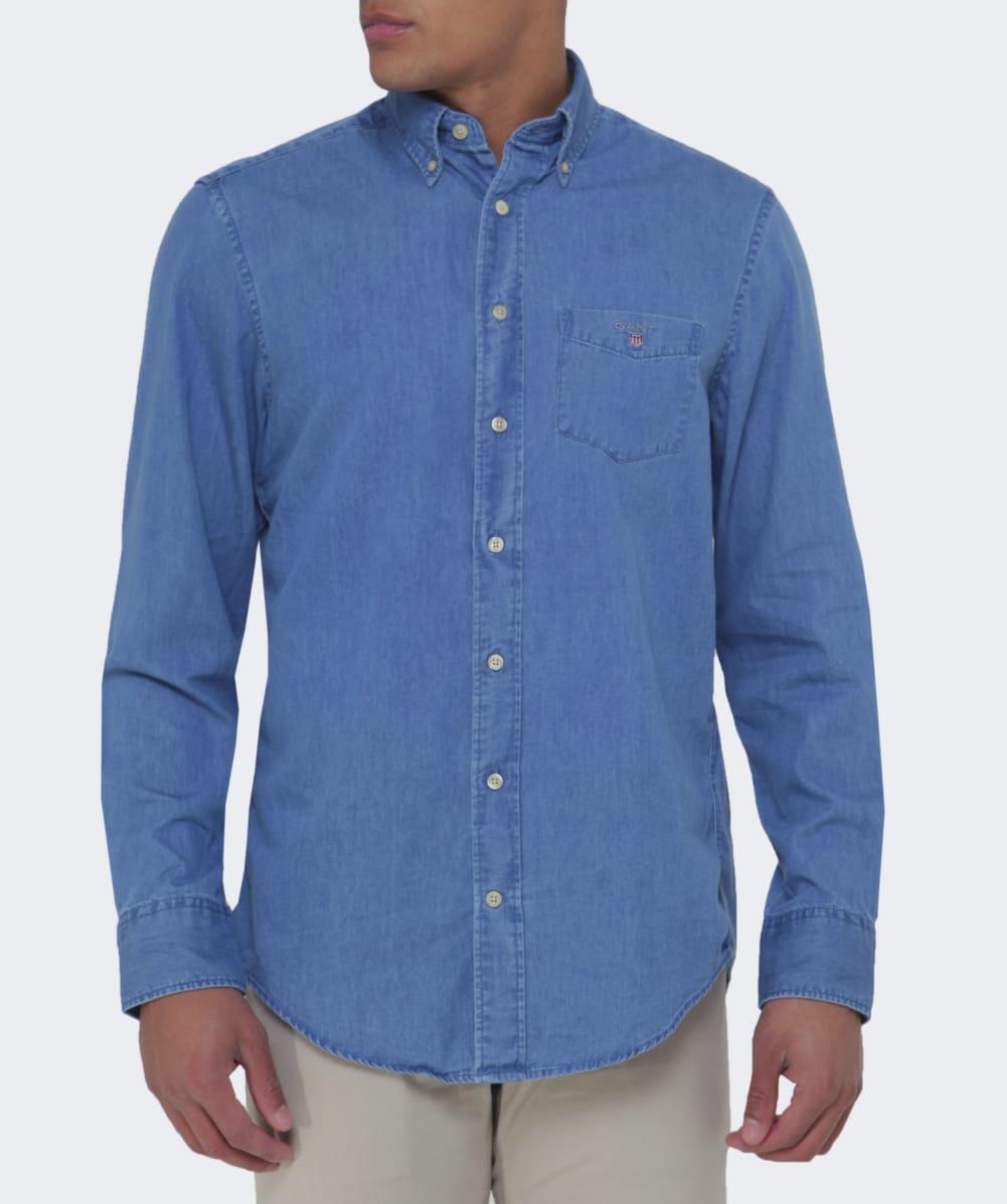 d476a1b5b91 GANT Regular Fit Indigo Dyed Shirt in Blue for Men - Lyst