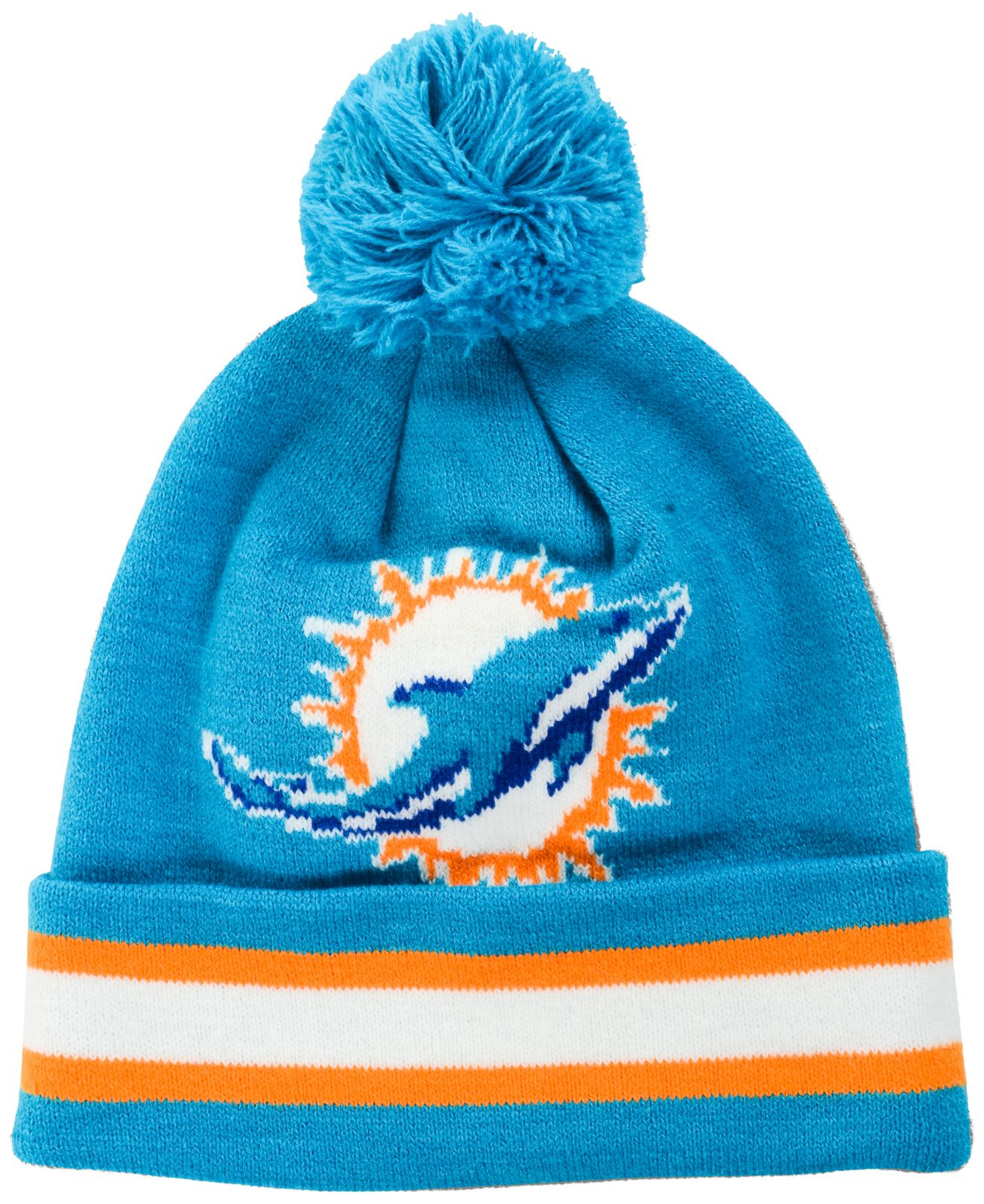 finest selection cb784 12b5d purchase lyst outerstuff toddlers miami dolphins cuff pom knit hat in blue  9f1ca e796f
