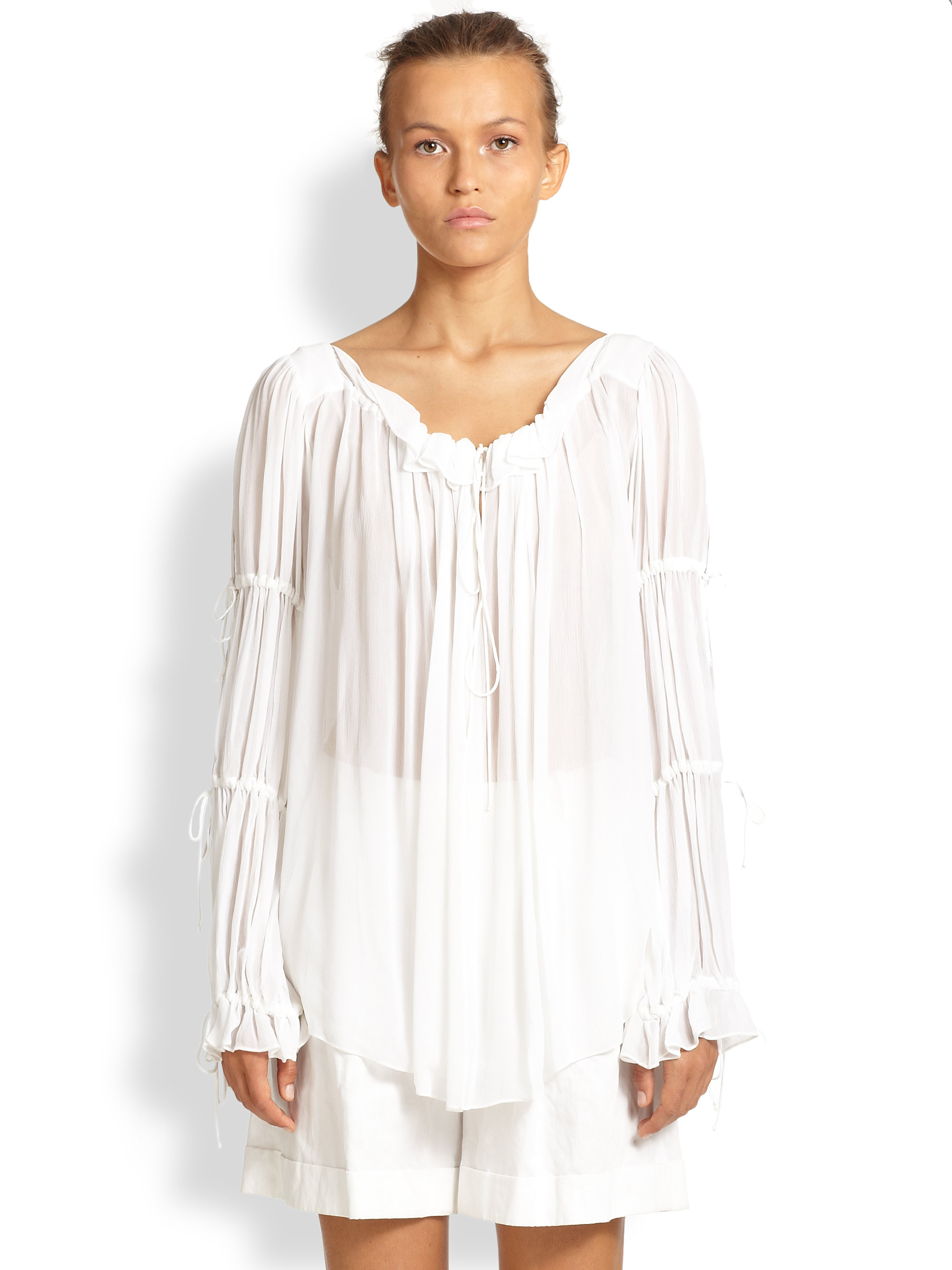 Womens White Crepe Blouse 88