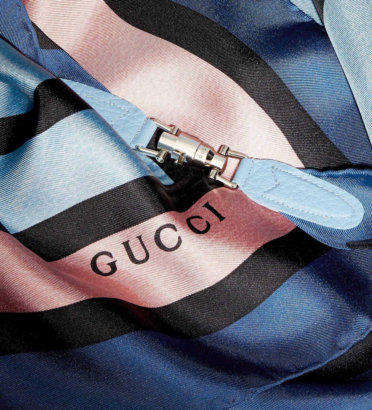 Lyst Gucci Stripe Silk Twill Triangle Scarf In Blue For Men