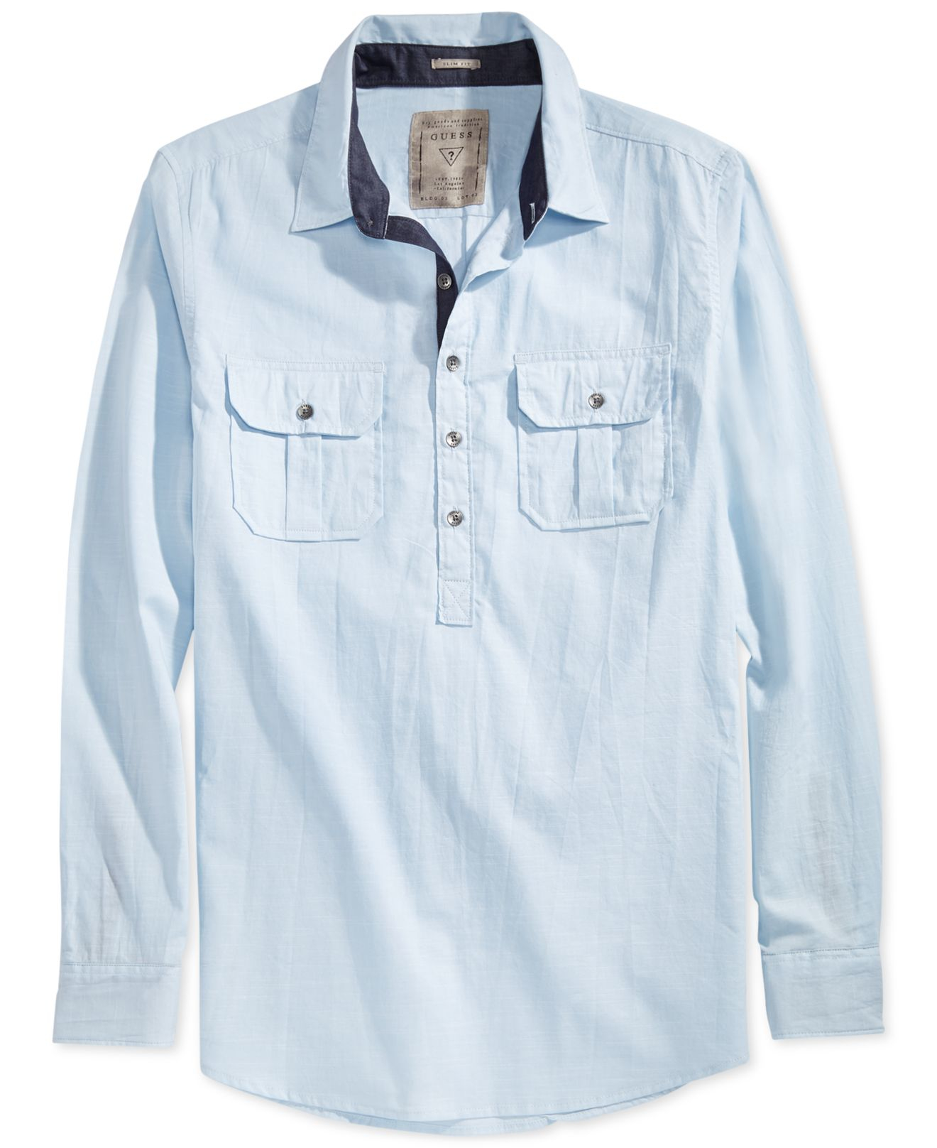 Guess Long Sleeve Military Popover Shirt In Blue For Men