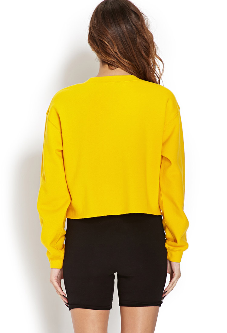 Forever 21 Tupac Cropped Cutoff Sweatshirt In Yellow Lyst