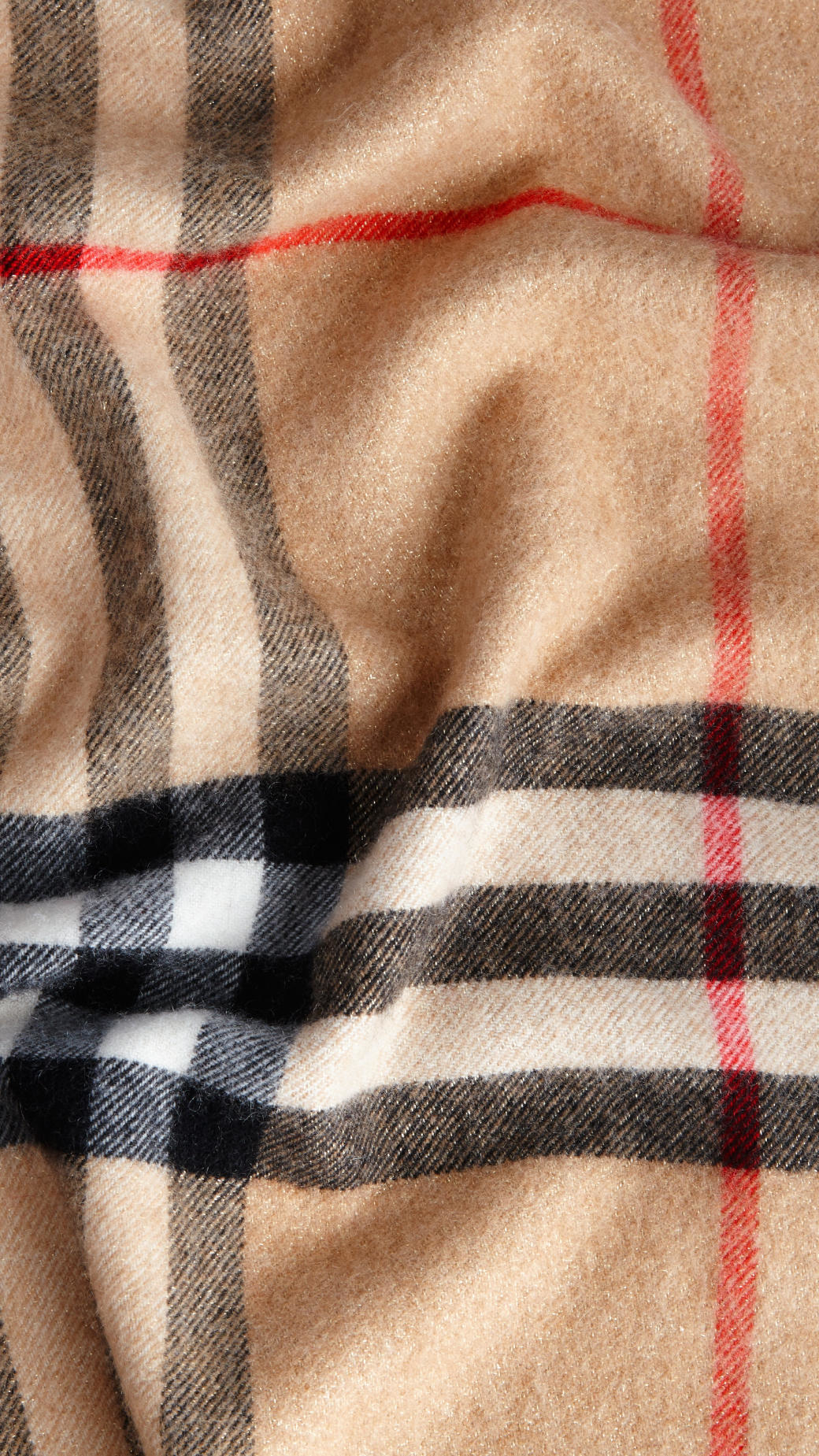 a9d9f1259a Burberry Metallic-weave Check Cashmere Scarf Camel/gold in Natural ...