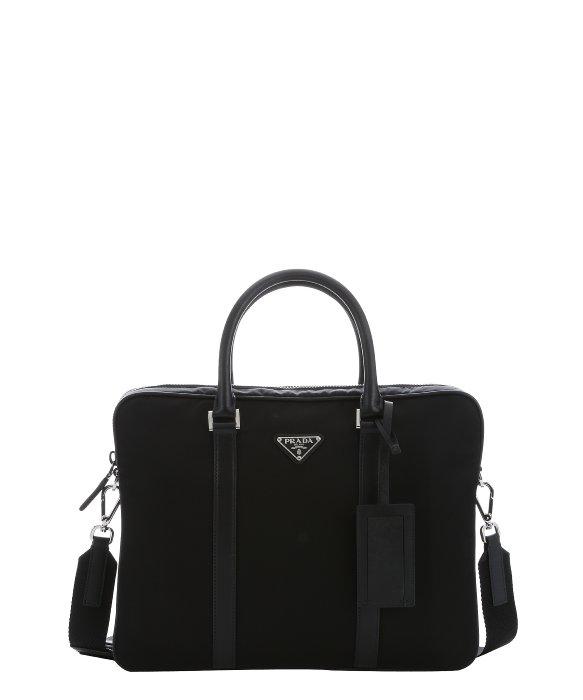 Prada Black Tessuto Nylon And Leather Convertible Briefcase in ...