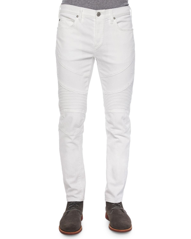 Lyst - True Religion Geno Distressed Moto Jeans in White ...