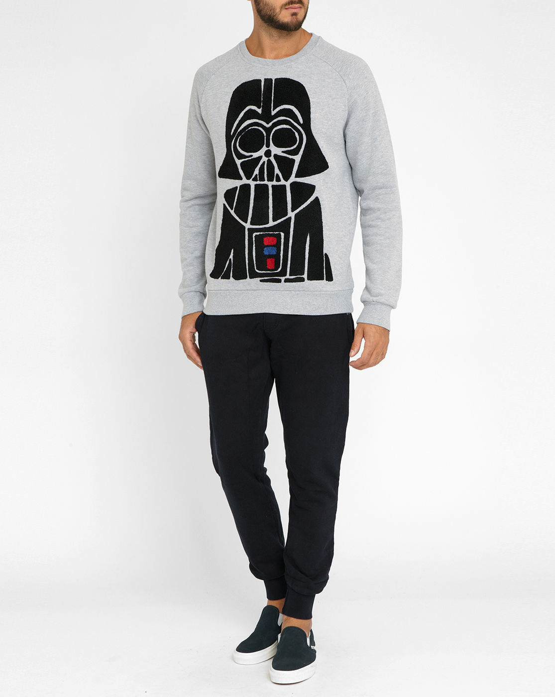 eleven paris mottled grey darth vader terry cloth sweatshirt in gray for men grey lyst. Black Bedroom Furniture Sets. Home Design Ideas