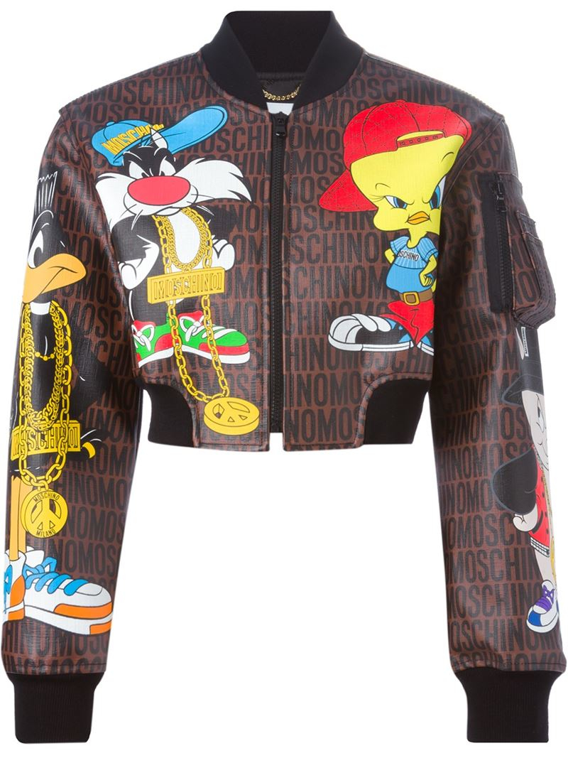 b4e45489ca Lyst - Moschino Looney Tunes Bomber Jacket in Brown